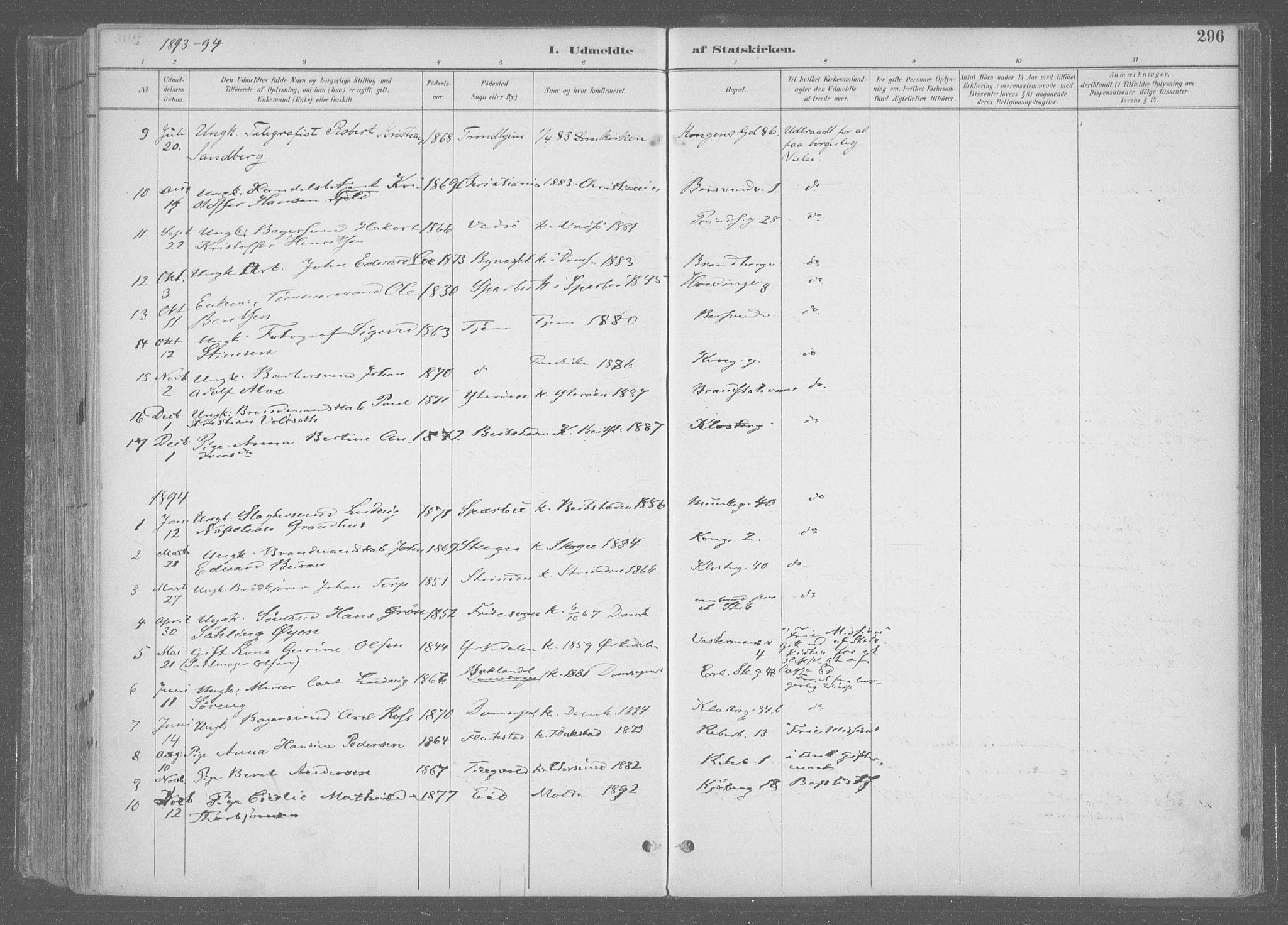 SAT, Ministerialprotokoller, klokkerbøker og fødselsregistre - Sør-Trøndelag, 601/L0064: Ministerialbok nr. 601A31, 1891-1911, s. 296