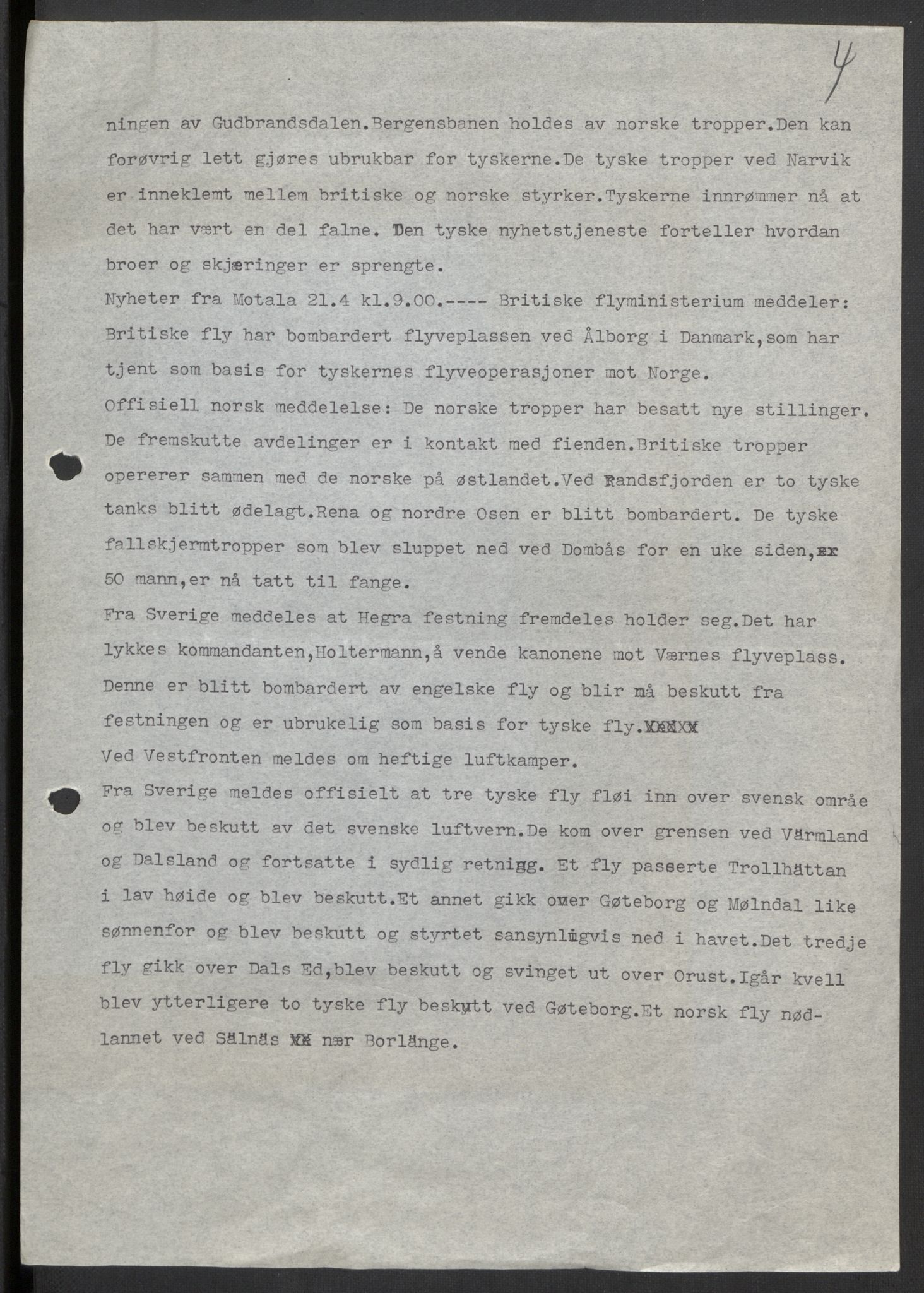 RA, Forsvaret, Forsvarets krigshistoriske avdeling, Y/Yb/L0104: II-C-11-430  -  4. Divisjon., 1940, s. 294