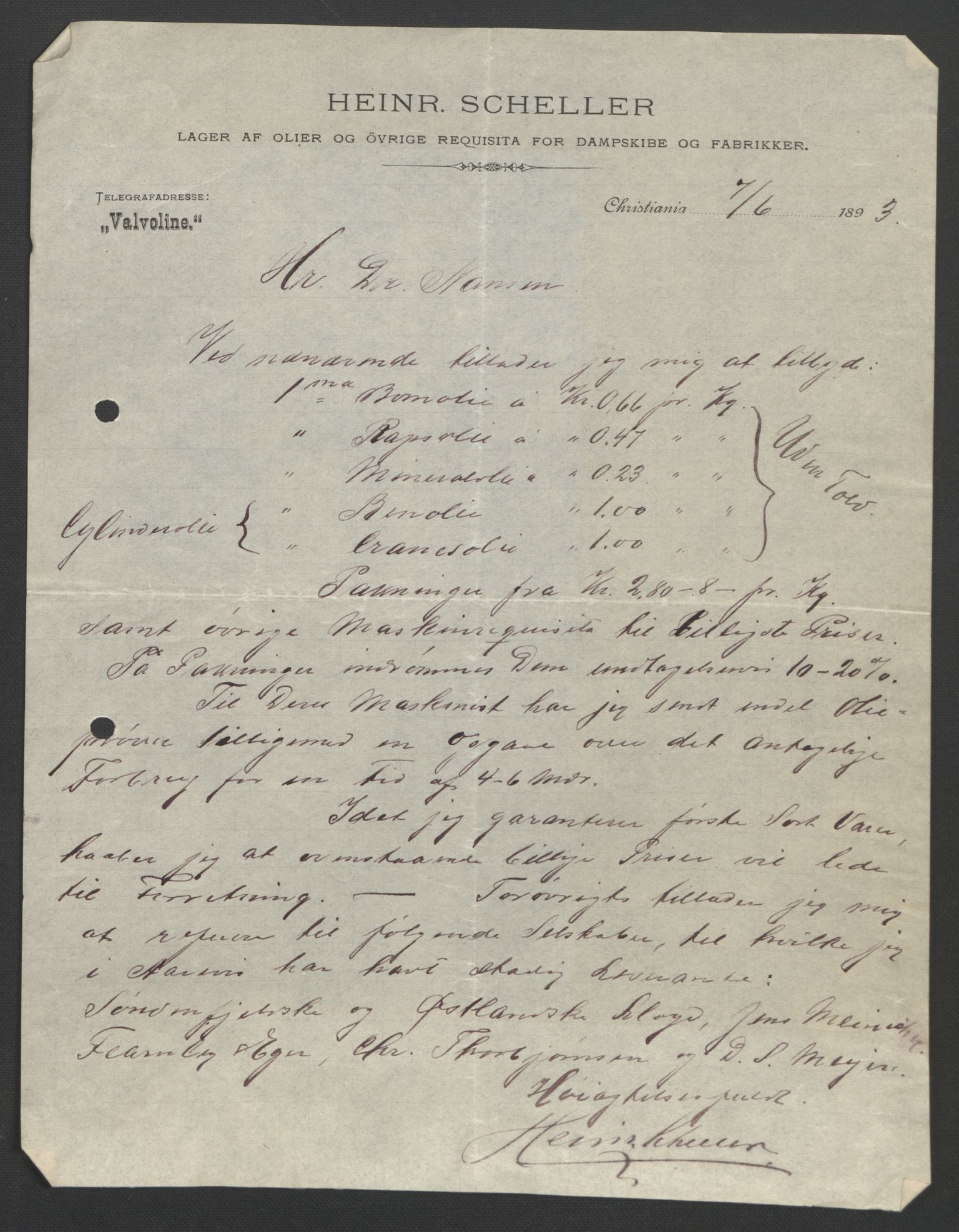 RA, Arbeidskomitéen for Fridtjof Nansens polarekspedisjon, D/L0003: Innk. brev og telegrammer vedr. proviant og utrustning, 1893, s. 349