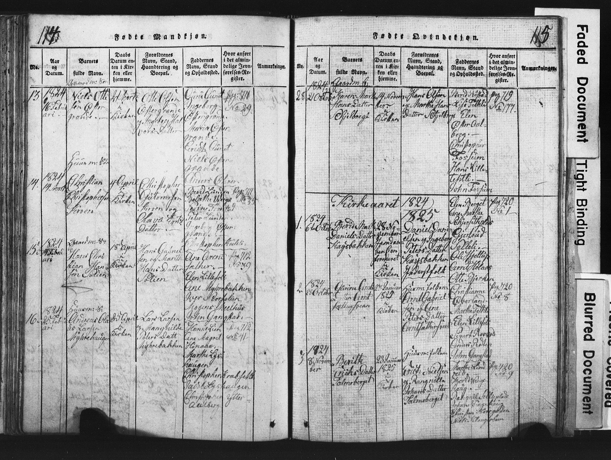 SAT, Ministerialprotokoller, klokkerbøker og fødselsregistre - Nord-Trøndelag, 701/L0017: Klokkerbok nr. 701C01, 1817-1825, s. 114-115