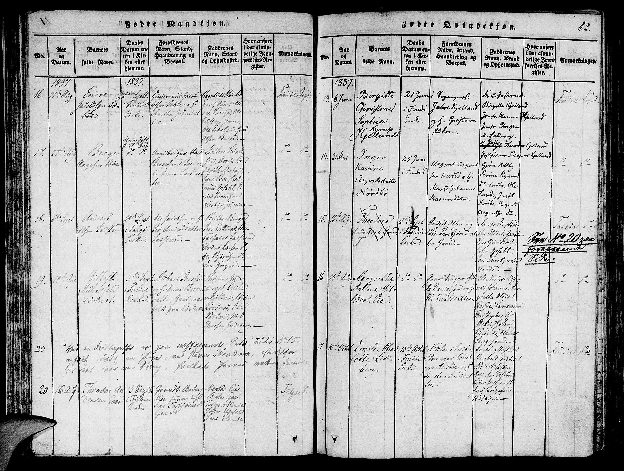 SAST, Finnøy sokneprestkontor, H/Ha/Haa/L0006: Ministerialbok nr. A 6, 1816-1846, s. 62