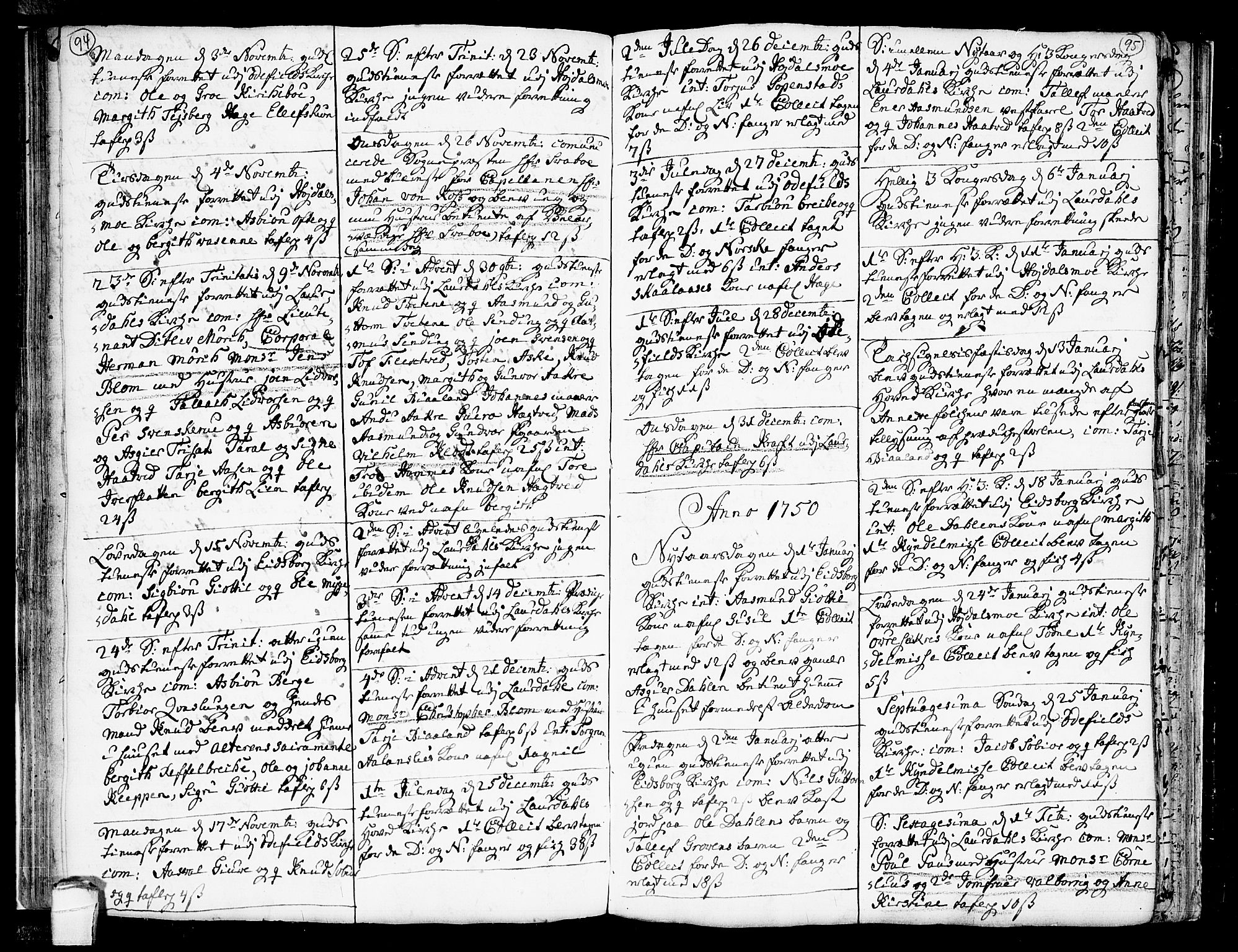 SAKO, Lårdal kirkebøker, F/Fa/L0002: Ministerialbok nr. I 2, 1734-1754, s. 94-95