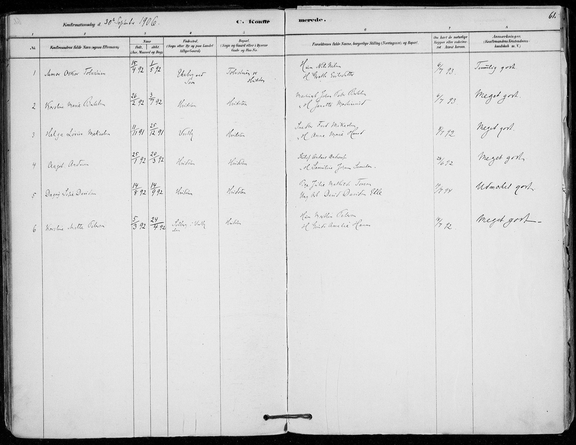 SAO, Vestby prestekontor Kirkebøker, F/Fd/L0001: Ministerialbok nr. IV 1, 1878-1945, s. 61