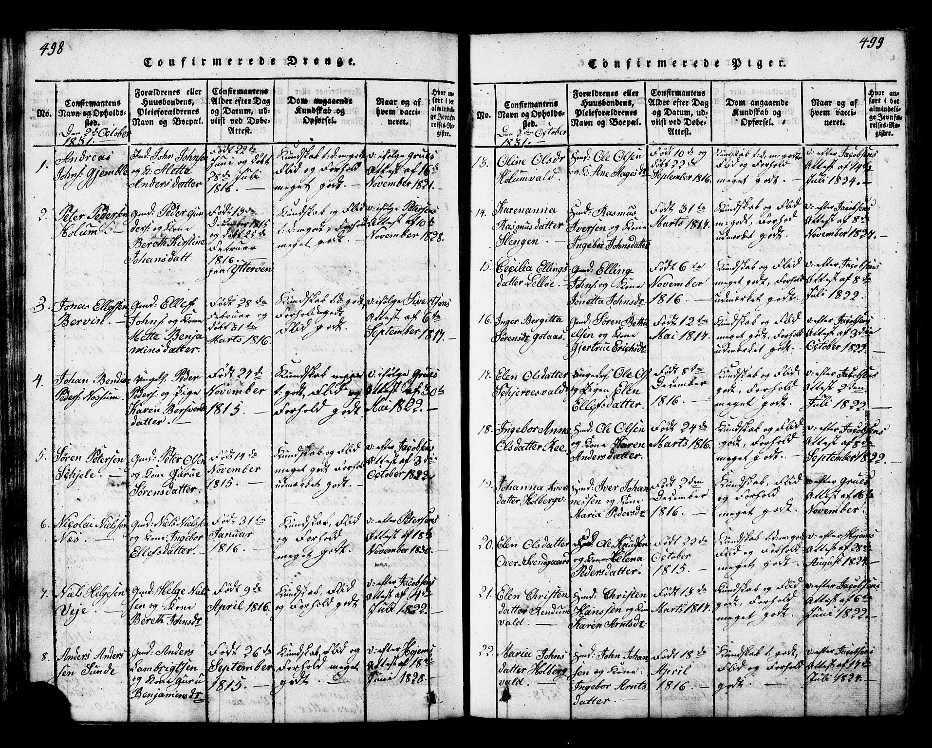 SAT, Ministerialprotokoller, klokkerbøker og fødselsregistre - Nord-Trøndelag, 717/L0169: Klokkerbok nr. 717C01, 1816-1834, s. 498-499