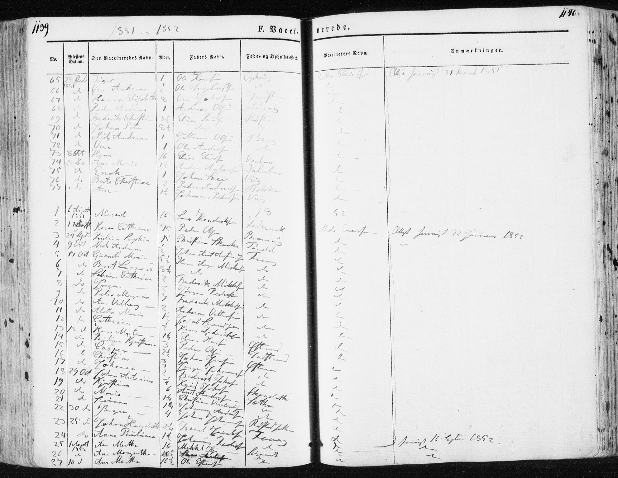 SAT, Ministerialprotokoller, klokkerbøker og fødselsregistre - Sør-Trøndelag, 659/L0736: Ministerialbok nr. 659A06, 1842-1856, s. 1139-1140