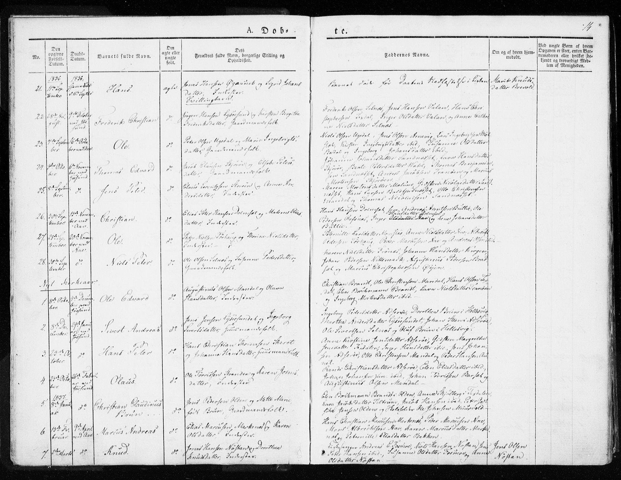 SAT, Ministerialprotokoller, klokkerbøker og fødselsregistre - Sør-Trøndelag, 655/L0676: Ministerialbok nr. 655A05, 1830-1847, s. 14