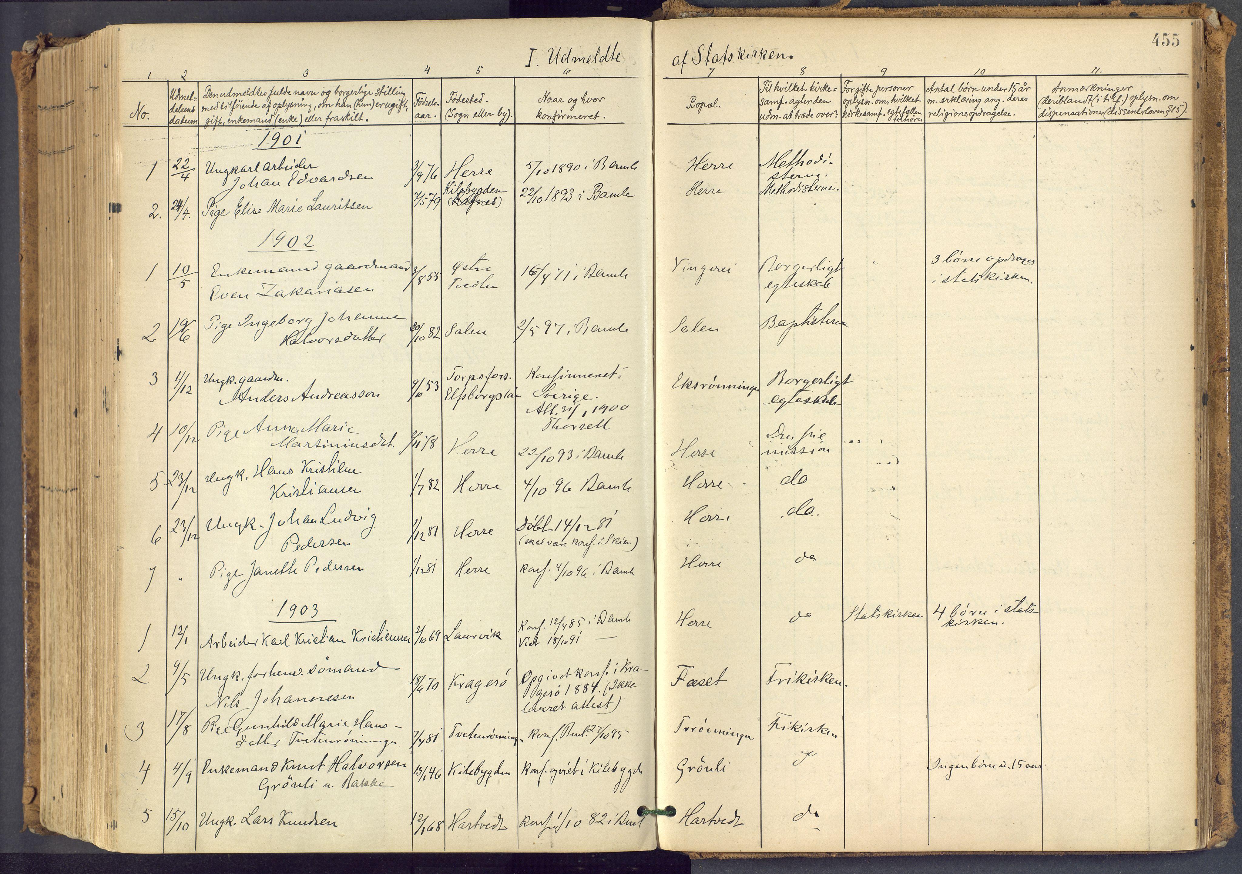 SAKO, Bamble kirkebøker, F/Fa/L0009: Ministerialbok nr. I 9, 1901-1917, s. 455