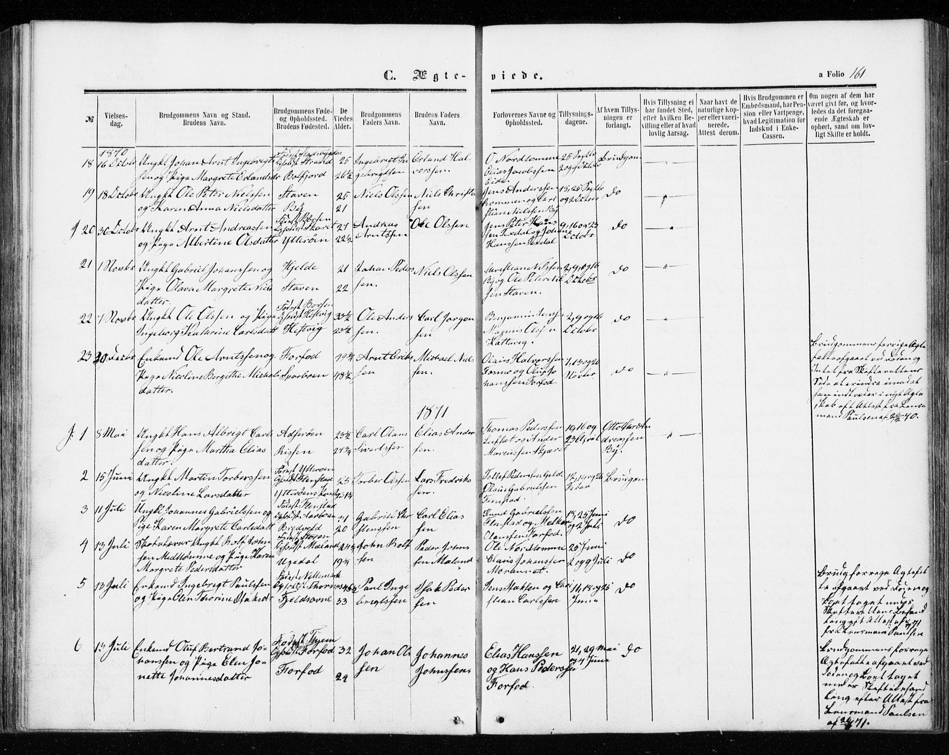 SAT, Ministerialprotokoller, klokkerbøker og fødselsregistre - Sør-Trøndelag, 655/L0678: Ministerialbok nr. 655A07, 1861-1873, s. 161