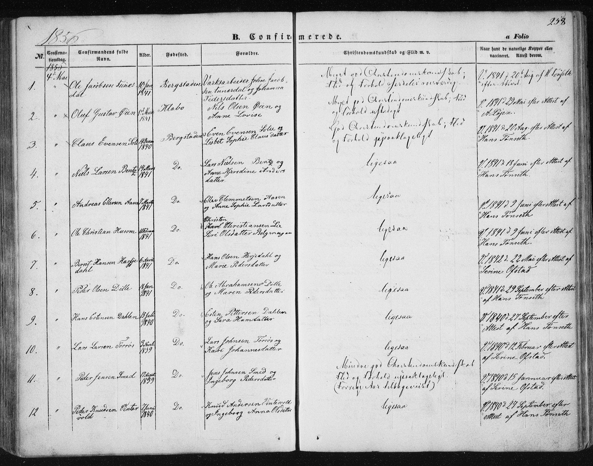SAT, Ministerialprotokoller, klokkerbøker og fødselsregistre - Sør-Trøndelag, 681/L0931: Ministerialbok nr. 681A09, 1845-1859, s. 258