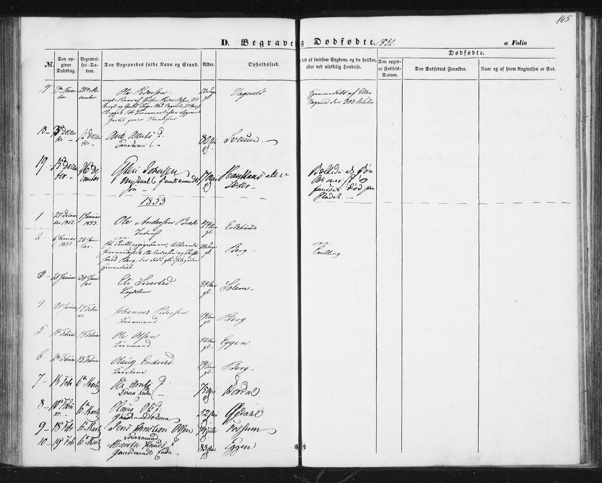 SAT, Ministerialprotokoller, klokkerbøker og fødselsregistre - Sør-Trøndelag, 689/L1038: Ministerialbok nr. 689A03, 1848-1872, s. 165