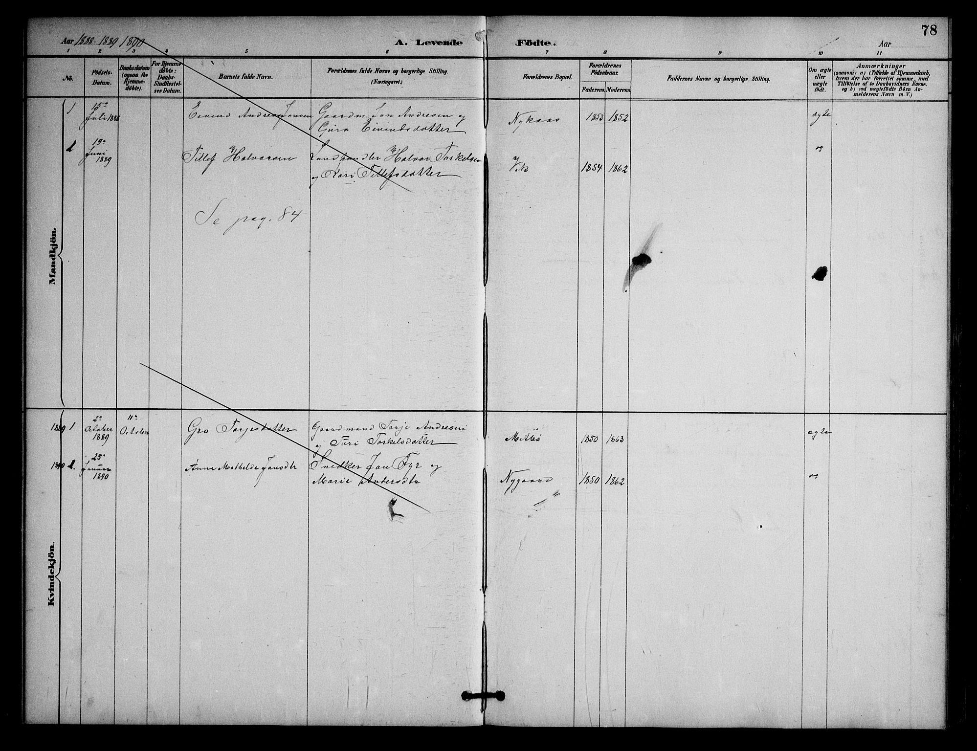 SAKO, Nissedal kirkebøker, G/Ga/L0003: Klokkerbok nr. I 3, 1887-1911, s. 78