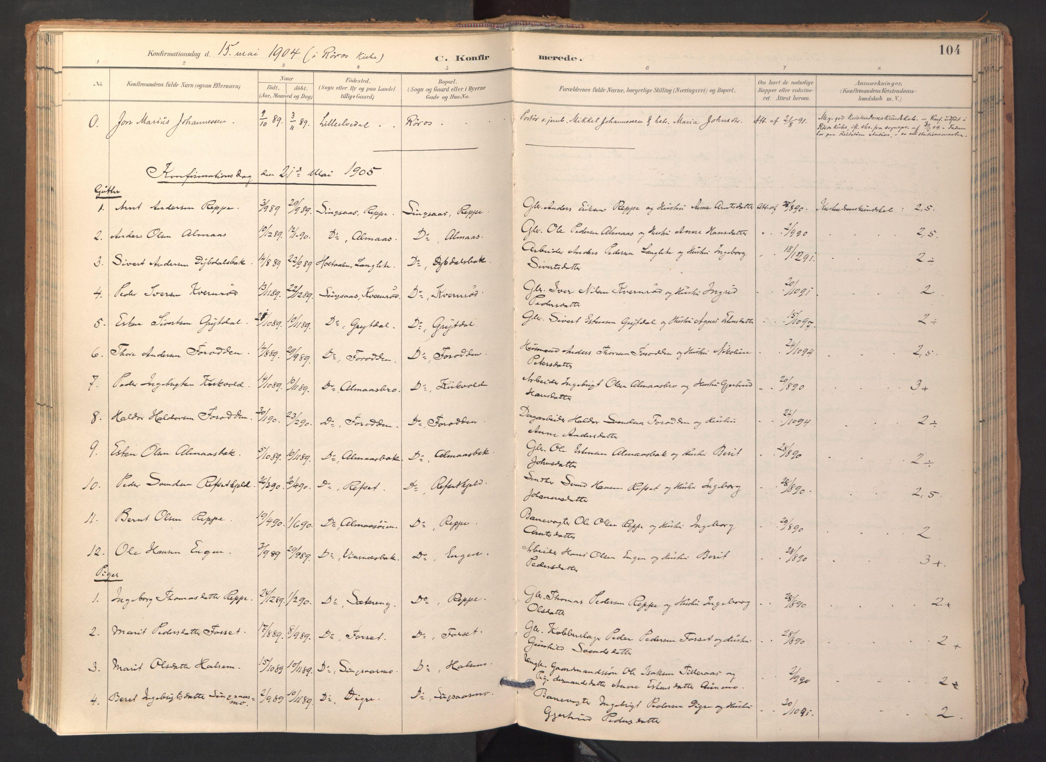 SAT, Ministerialprotokoller, klokkerbøker og fødselsregistre - Sør-Trøndelag, 688/L1025: Ministerialbok nr. 688A02, 1891-1909, s. 104