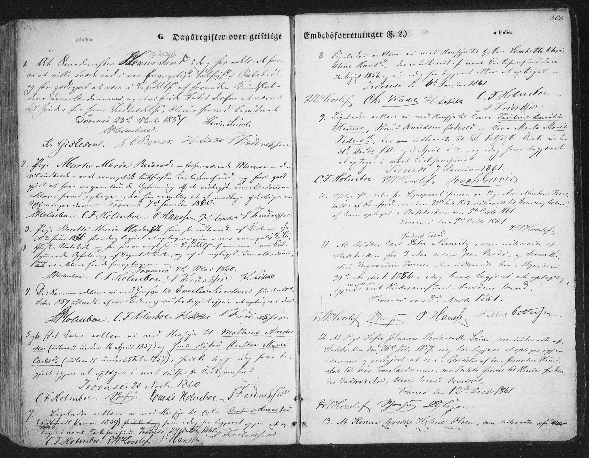 SATØ, Tromsø sokneprestkontor/stiftsprosti/domprosti, G/Ga/L0011kirke: Ministerialbok nr. 11, 1856-1865, s. 306