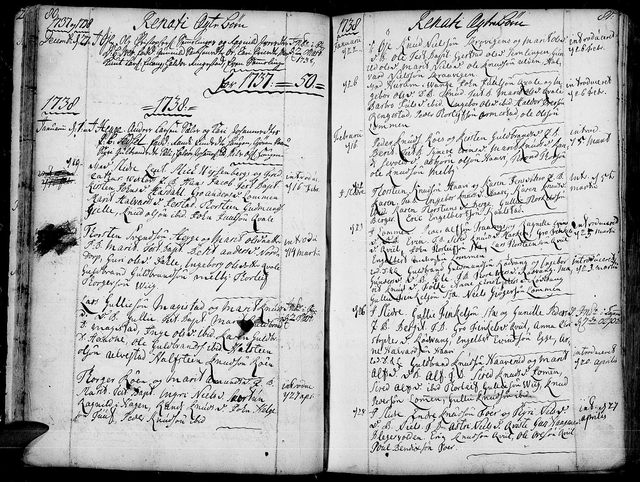 SAH, Slidre prestekontor, Ministerialbok nr. 1, 1724-1814, s. 80-81