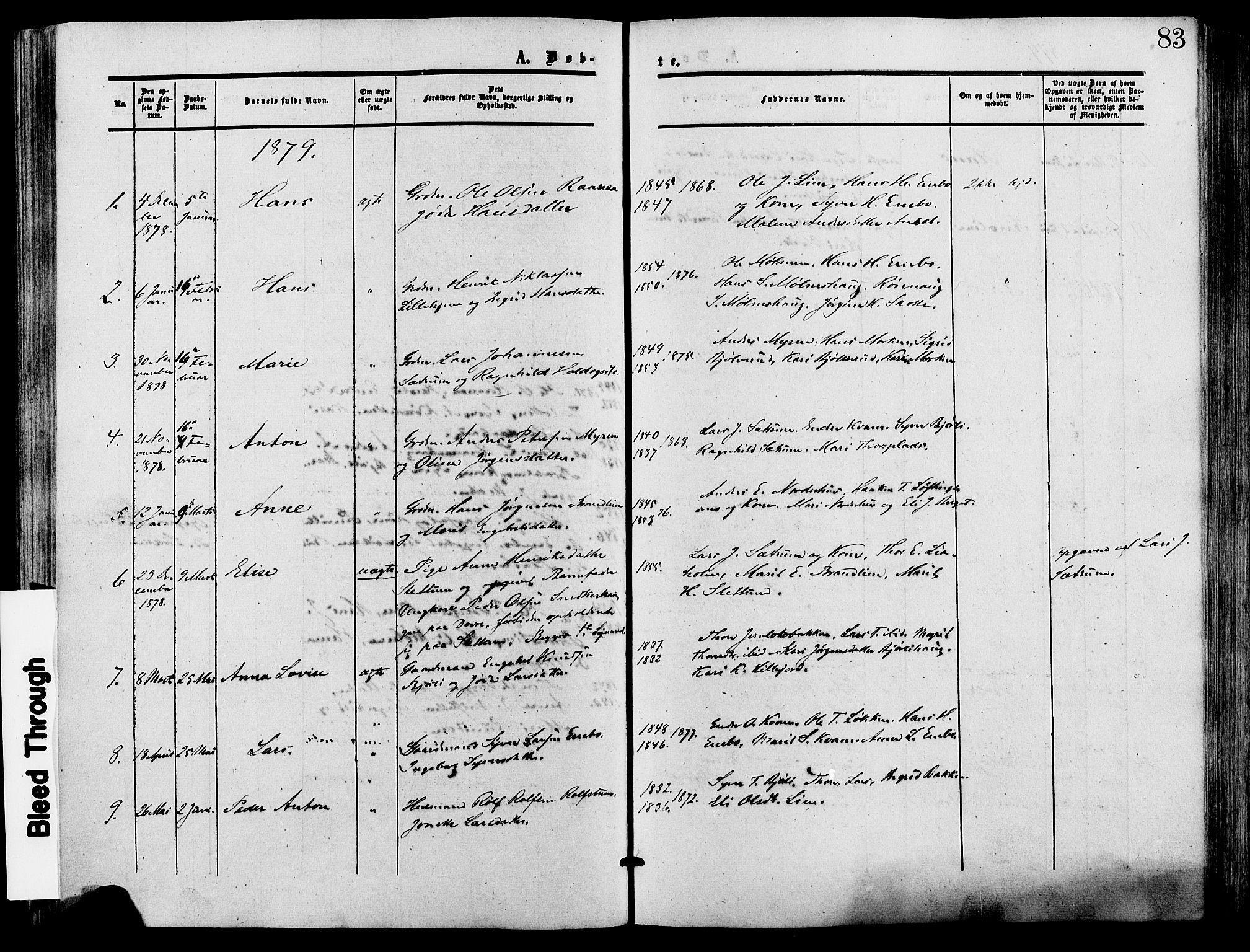 SAH, Lesja prestekontor, Ministerialbok nr. 9, 1854-1889, s. 83