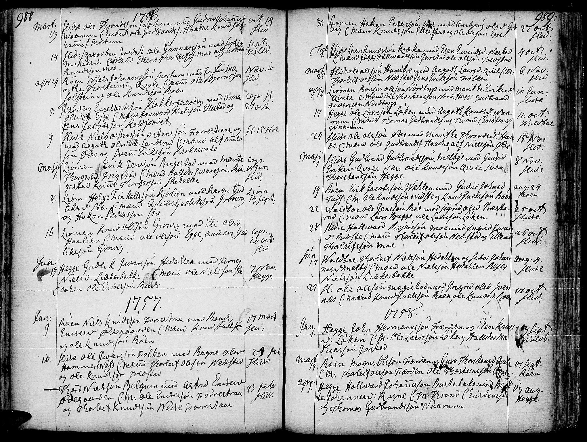 SAH, Slidre prestekontor, Ministerialbok nr. 1, 1724-1814, s. 988-989