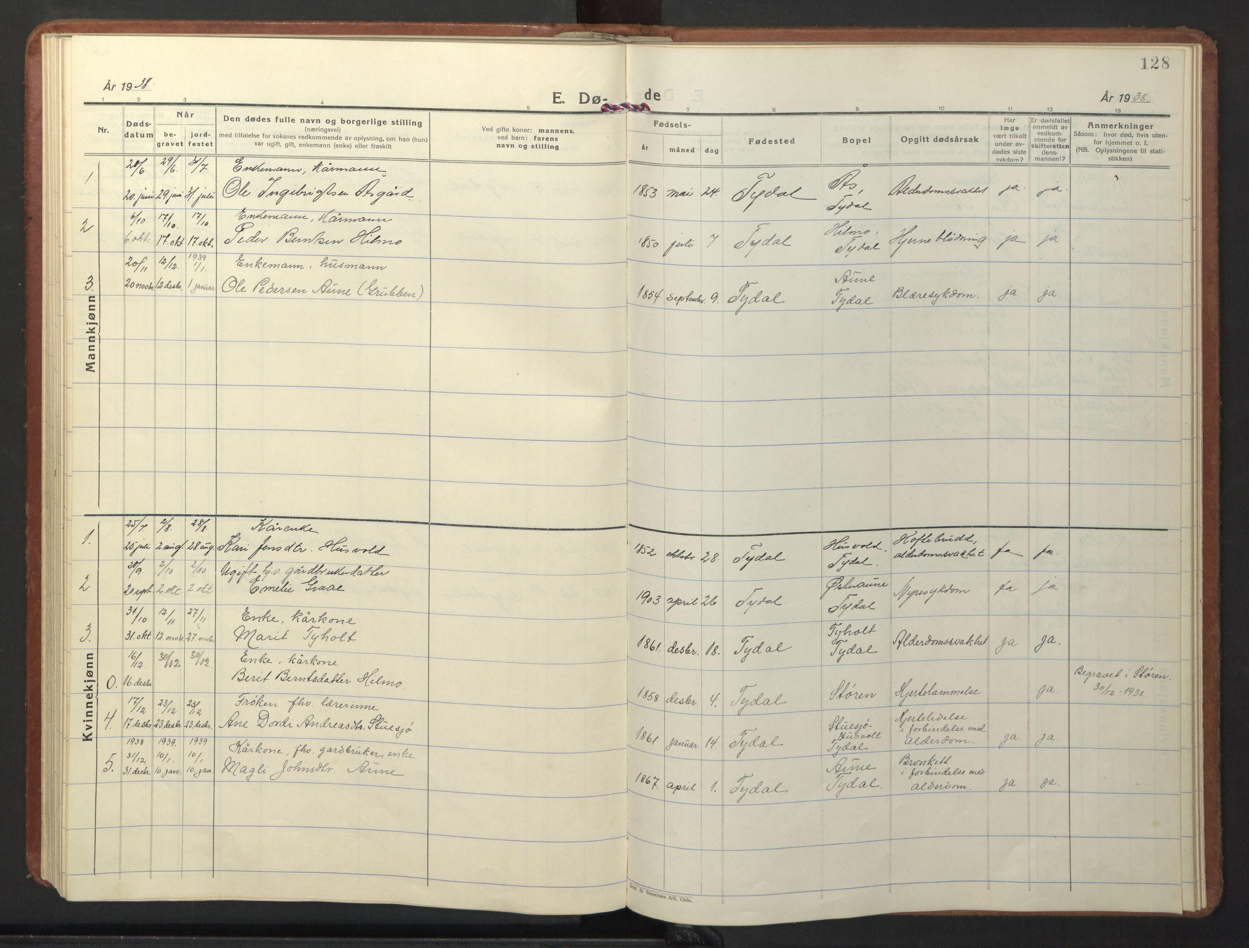SAT, Ministerialprotokoller, klokkerbøker og fødselsregistre - Sør-Trøndelag, 698/L1169: Klokkerbok nr. 698C06, 1930-1949, s. 128