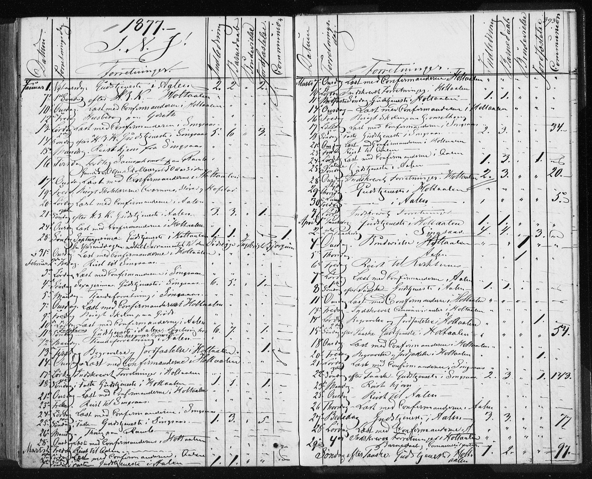 SAT, Ministerialprotokoller, klokkerbøker og fødselsregistre - Sør-Trøndelag, 685/L0969: Ministerialbok nr. 685A08 /1, 1870-1878, s. 393