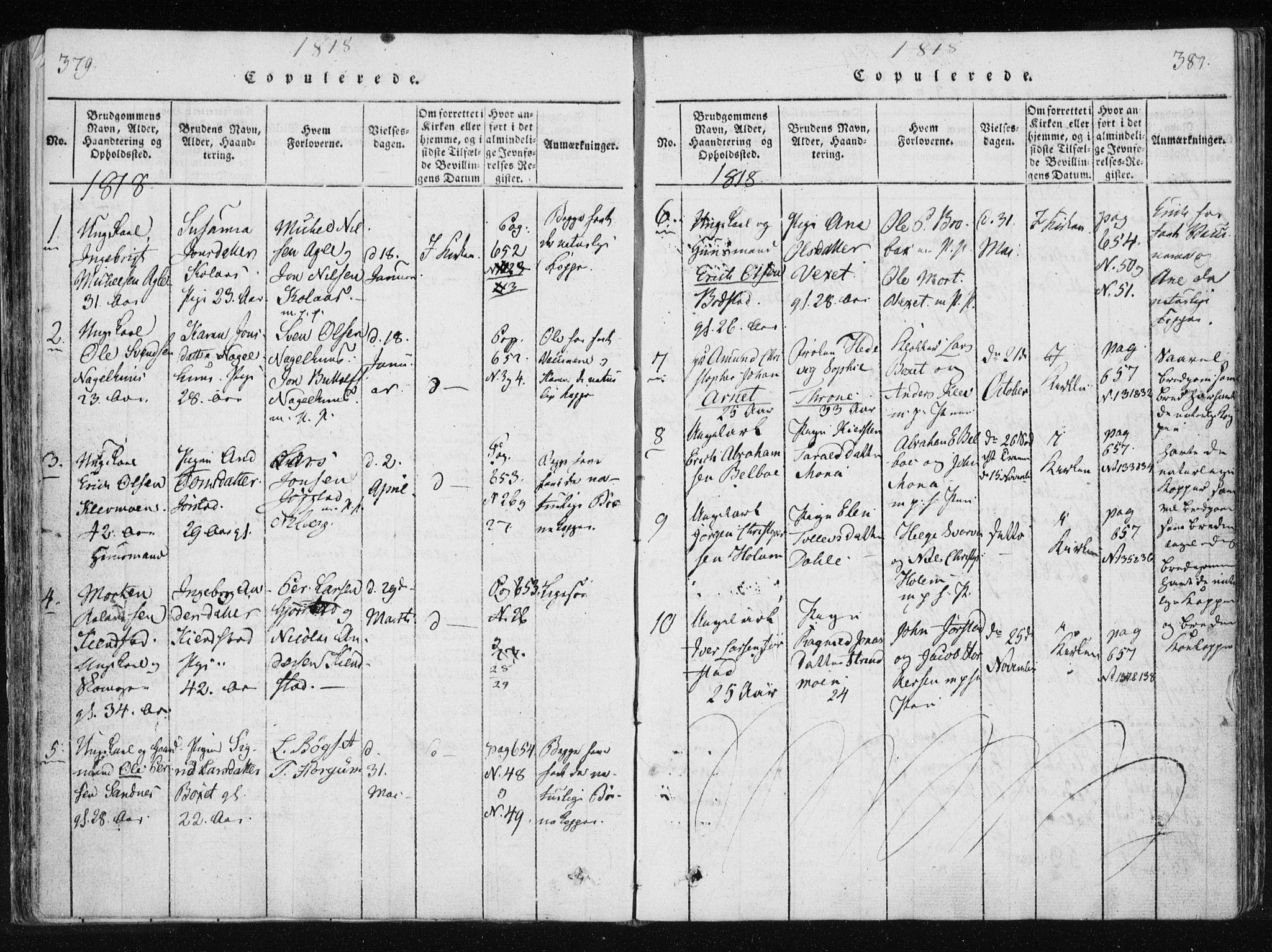 SAT, Ministerialprotokoller, klokkerbøker og fødselsregistre - Nord-Trøndelag, 749/L0469: Ministerialbok nr. 749A03, 1817-1857, s. 379-380