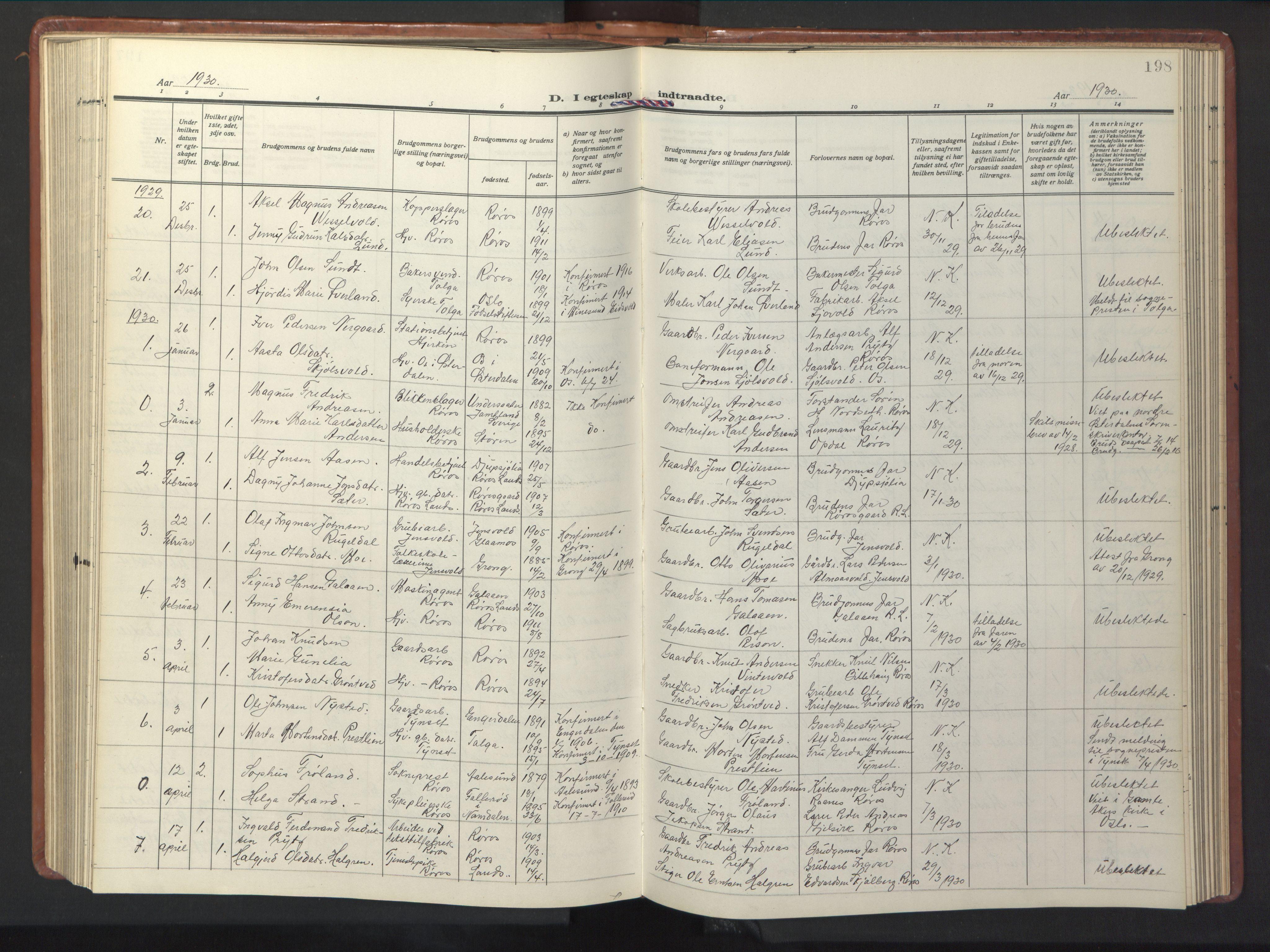 SAT, Ministerialprotokoller, klokkerbøker og fødselsregistre - Sør-Trøndelag, 681/L0943: Klokkerbok nr. 681C07, 1926-1954, s. 198