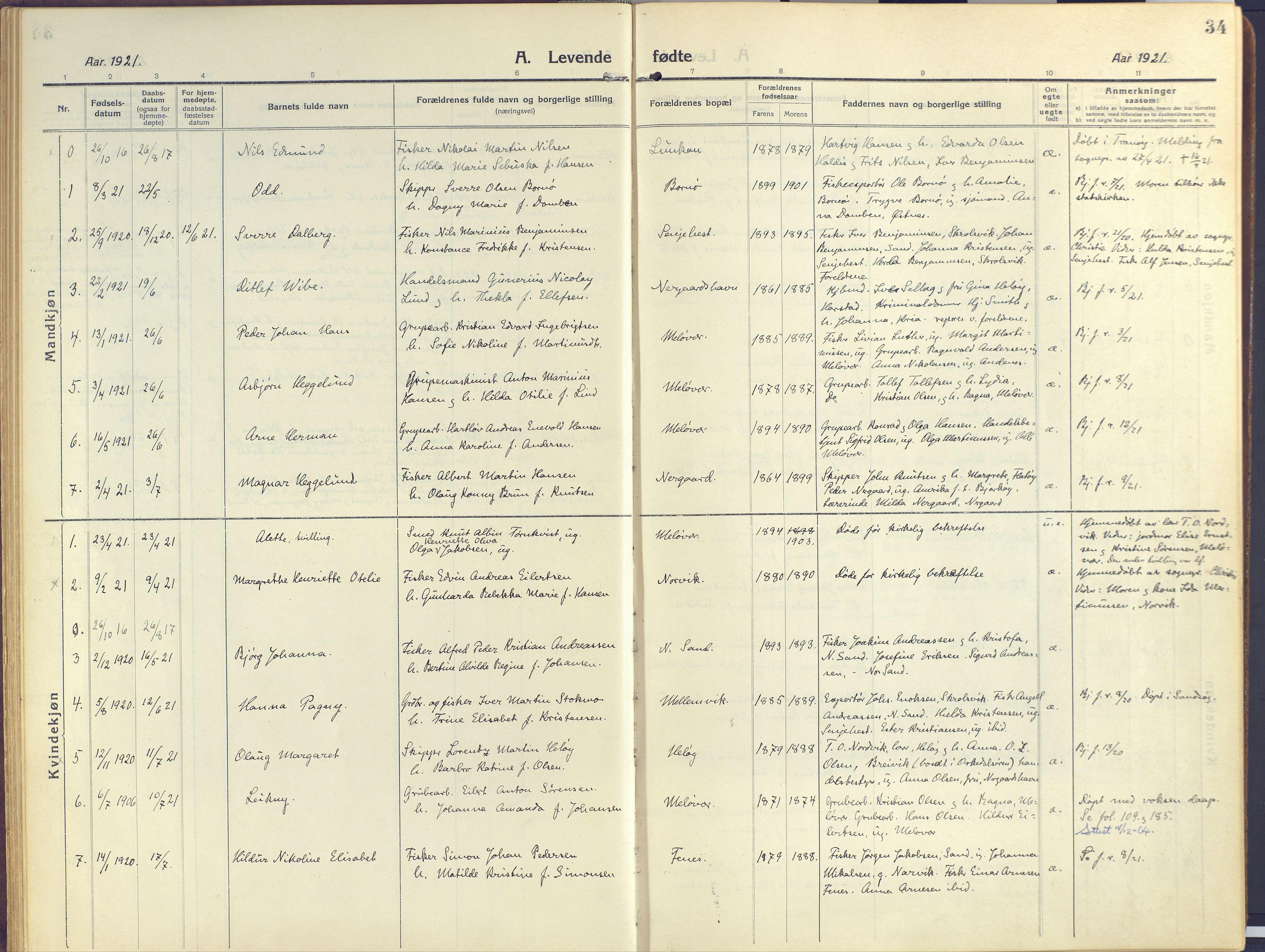 SATØ, Sand/Bjarkøy sokneprestkontor, I/Ia/Iaa/L0006kirke: Ministerialbok nr. 6, 1915-1929, s. 34