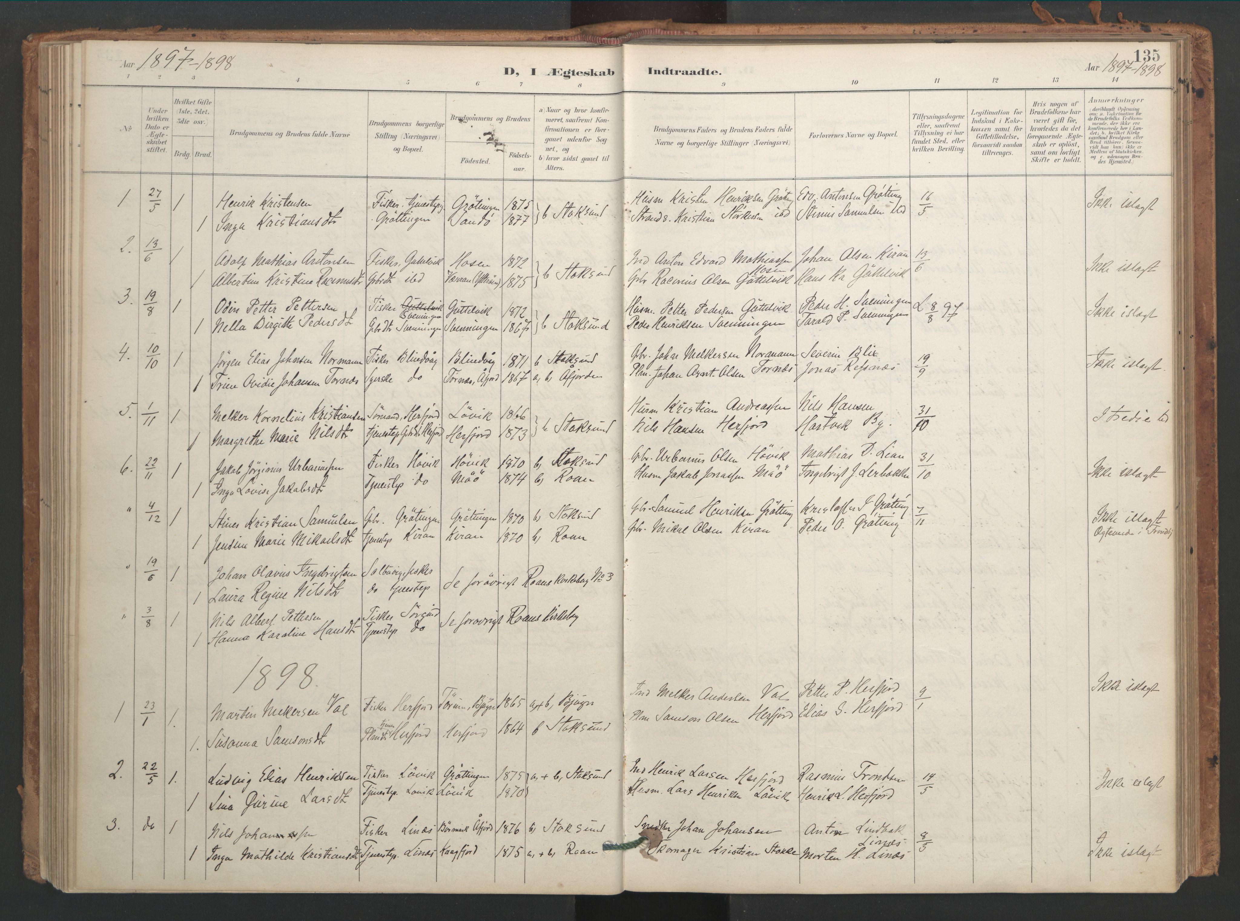 SAT, Ministerialprotokoller, klokkerbøker og fødselsregistre - Sør-Trøndelag, 656/L0693: Ministerialbok nr. 656A02, 1894-1913, s. 135
