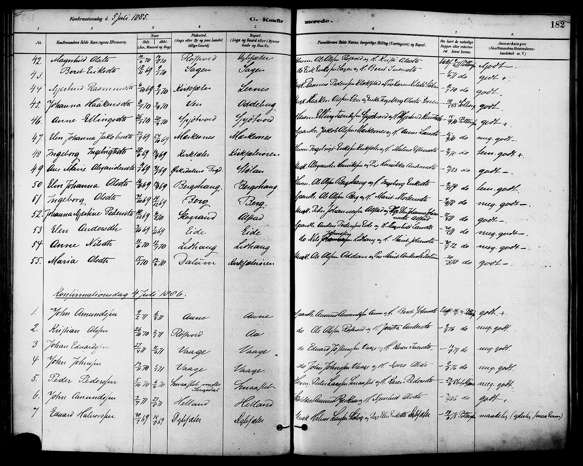 SAT, Ministerialprotokoller, klokkerbøker og fødselsregistre - Sør-Trøndelag, 630/L0496: Ministerialbok nr. 630A09, 1879-1895, s. 182