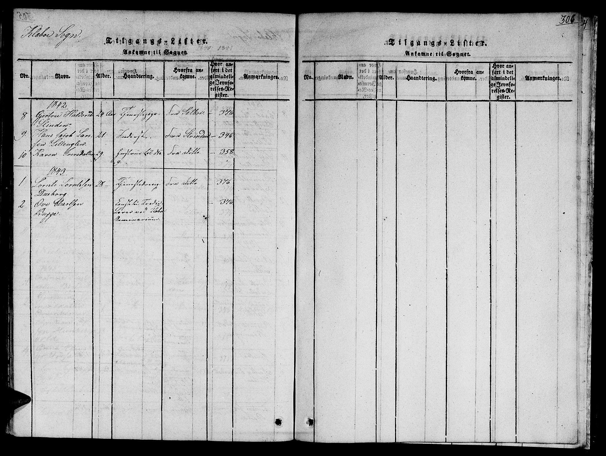 SAT, Ministerialprotokoller, klokkerbøker og fødselsregistre - Sør-Trøndelag, 618/L0439: Ministerialbok nr. 618A04 /1, 1816-1843, s. 306