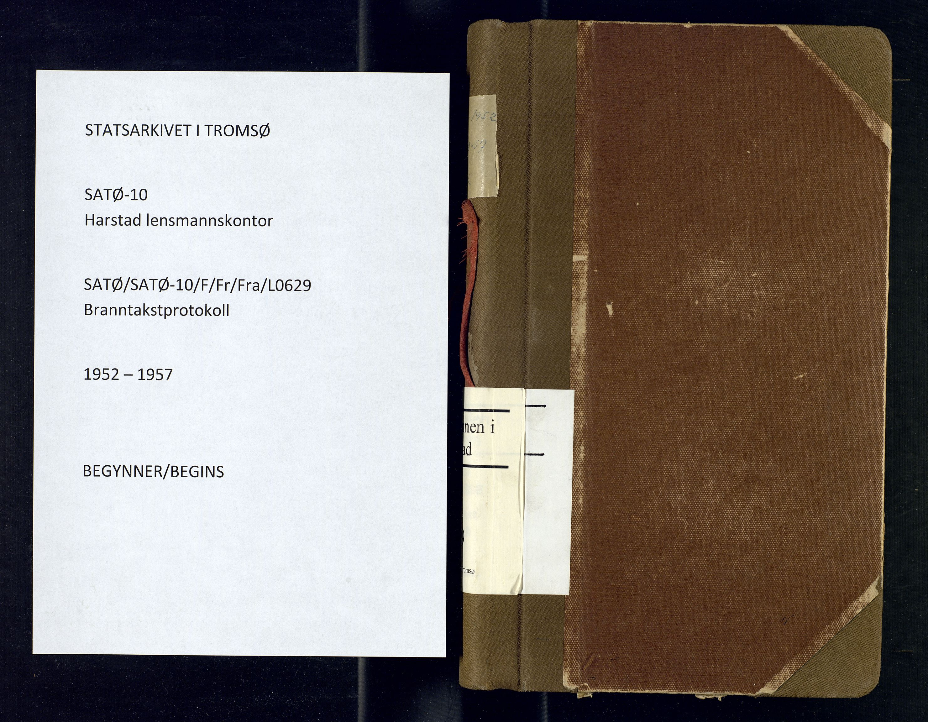 SATØ, Harstad lensmannskontor, F/Fr/Fra/L0629: Branntakstprotokoll. Autorisert for Harstad by, 1952-1957