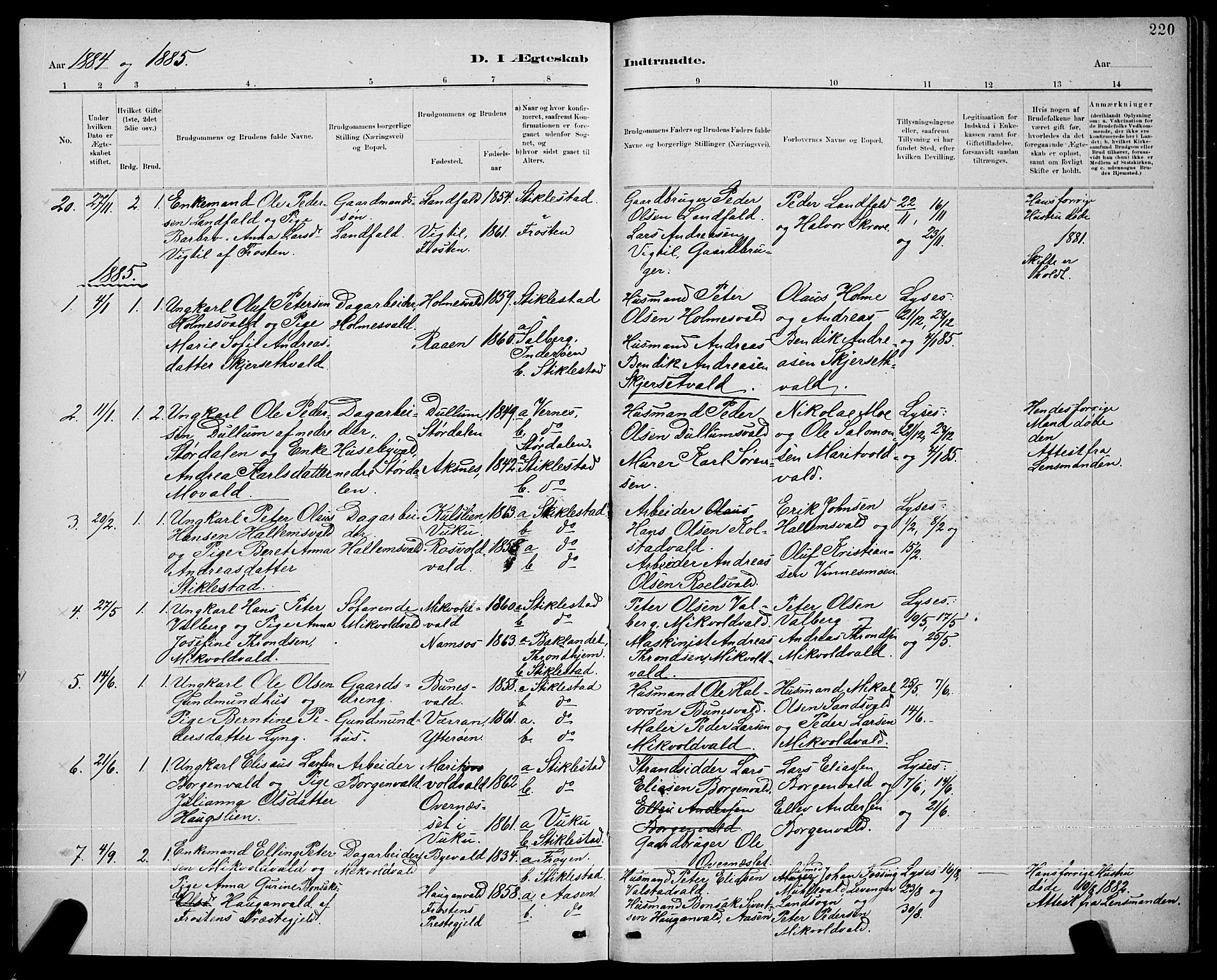 SAT, Ministerialprotokoller, klokkerbøker og fødselsregistre - Nord-Trøndelag, 723/L0256: Klokkerbok nr. 723C04, 1879-1890, s. 220
