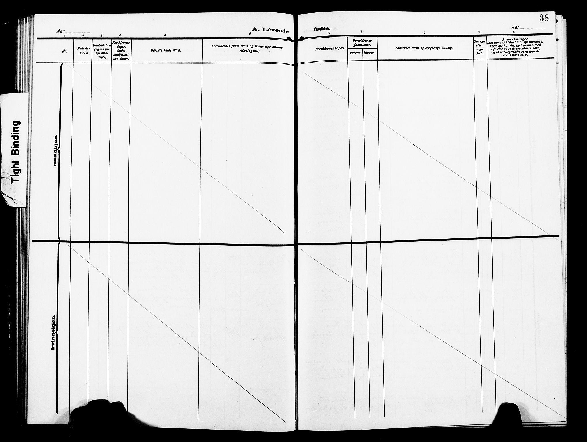 SAT, Ministerialprotokoller, klokkerbøker og fødselsregistre - Nord-Trøndelag, 739/L0376: Klokkerbok nr. 739C04, 1908-1917, s. 38