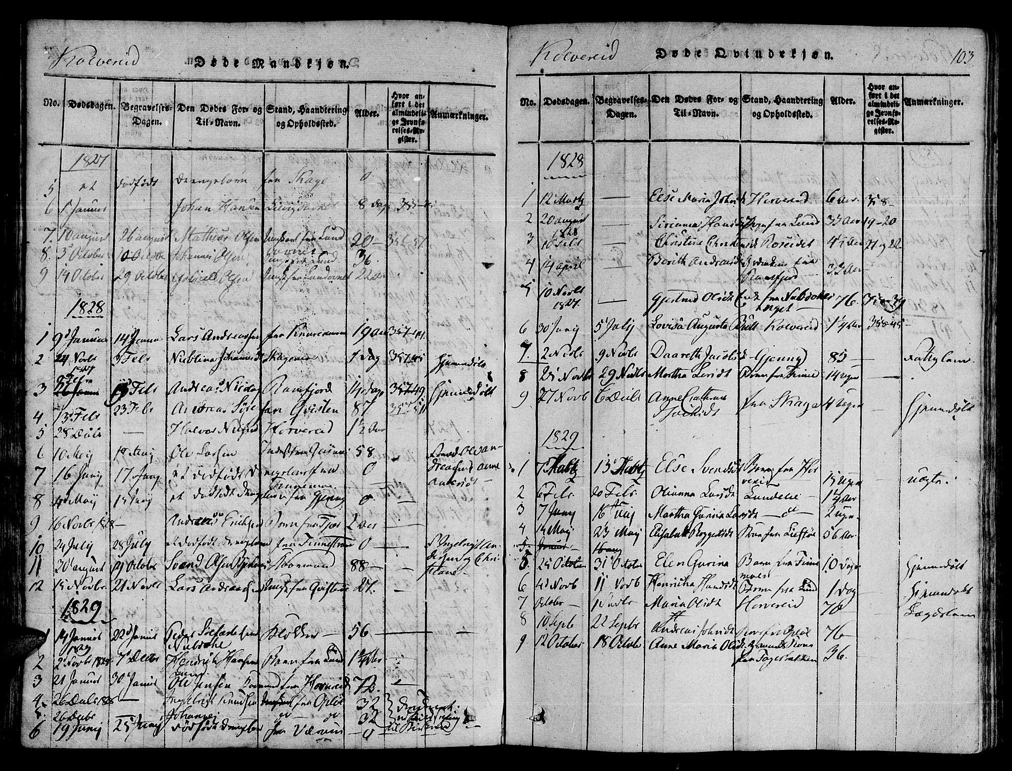 SAT, Ministerialprotokoller, klokkerbøker og fødselsregistre - Nord-Trøndelag, 780/L0636: Ministerialbok nr. 780A03 /1, 1815-1830, s. 103