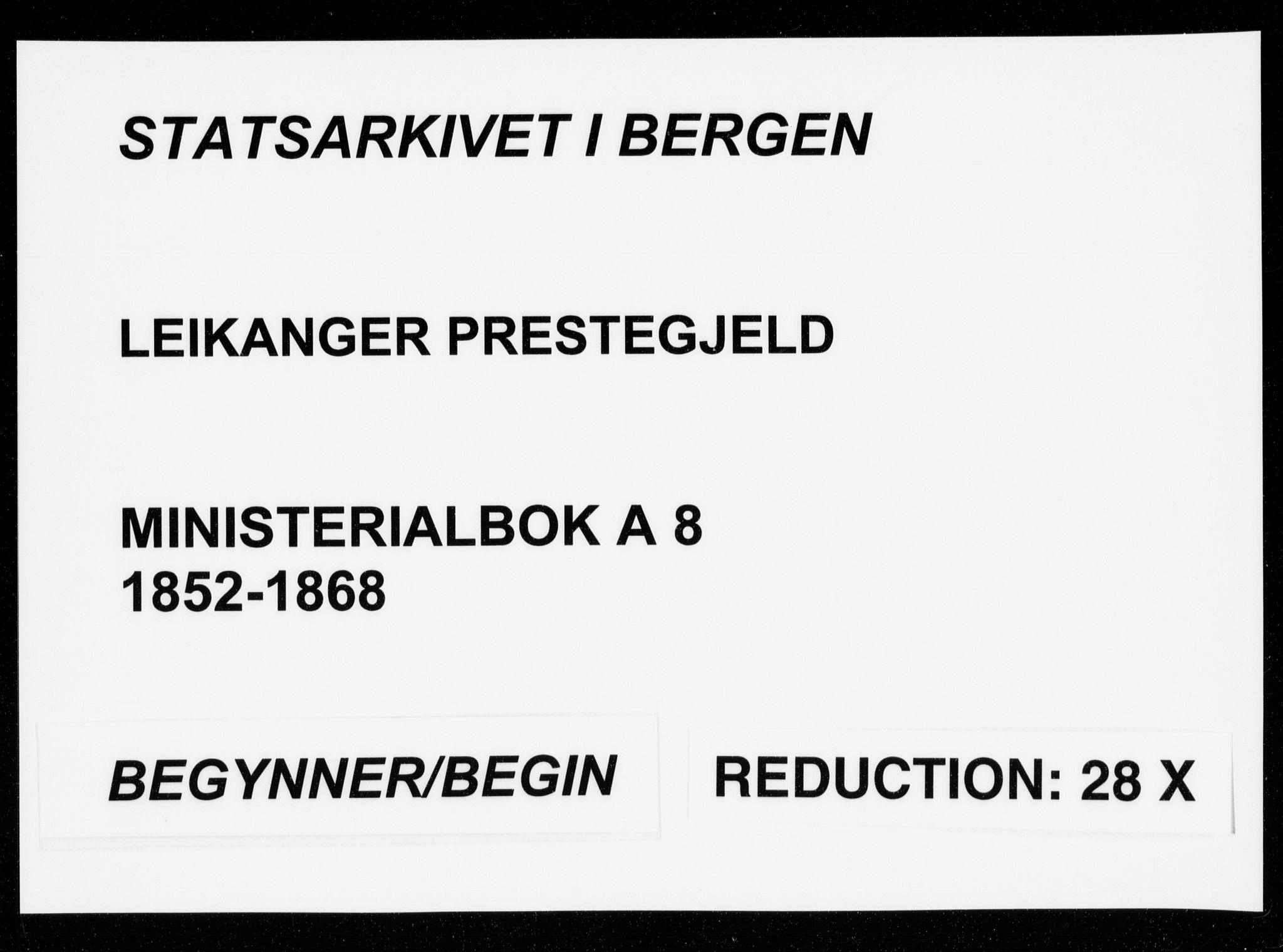 SAB, Leikanger Sokneprestembete, Ministerialbok nr. A 8, 1852-1868