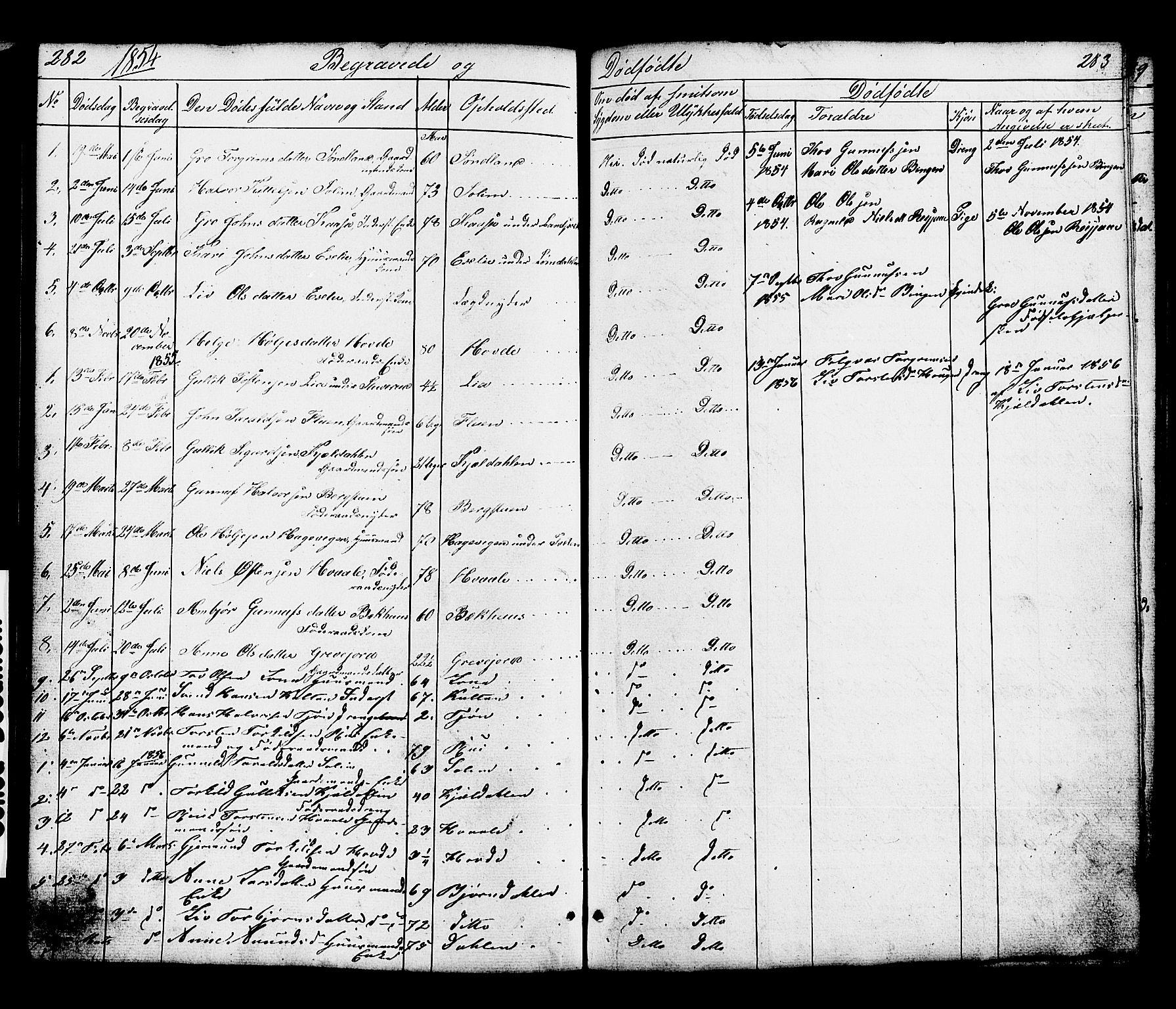 SAKO, Hjartdal kirkebøker, G/Gc/L0002: Klokkerbok nr. III 2, 1854-1890, s. 282-283