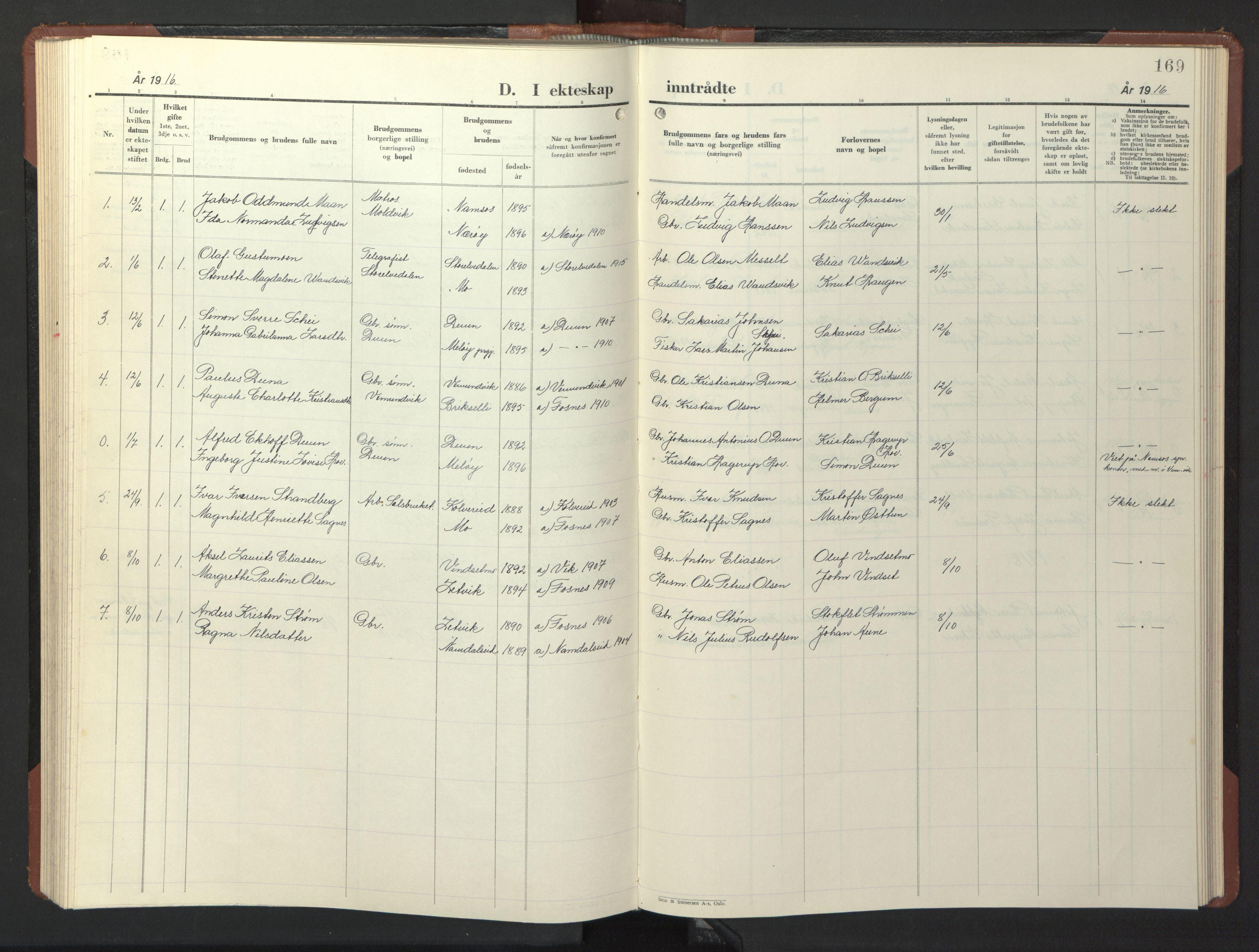 SAT, Ministerialprotokoller, klokkerbøker og fødselsregistre - Nord-Trøndelag, 773/L0625: Klokkerbok nr. 773C01, 1910-1952, s. 169