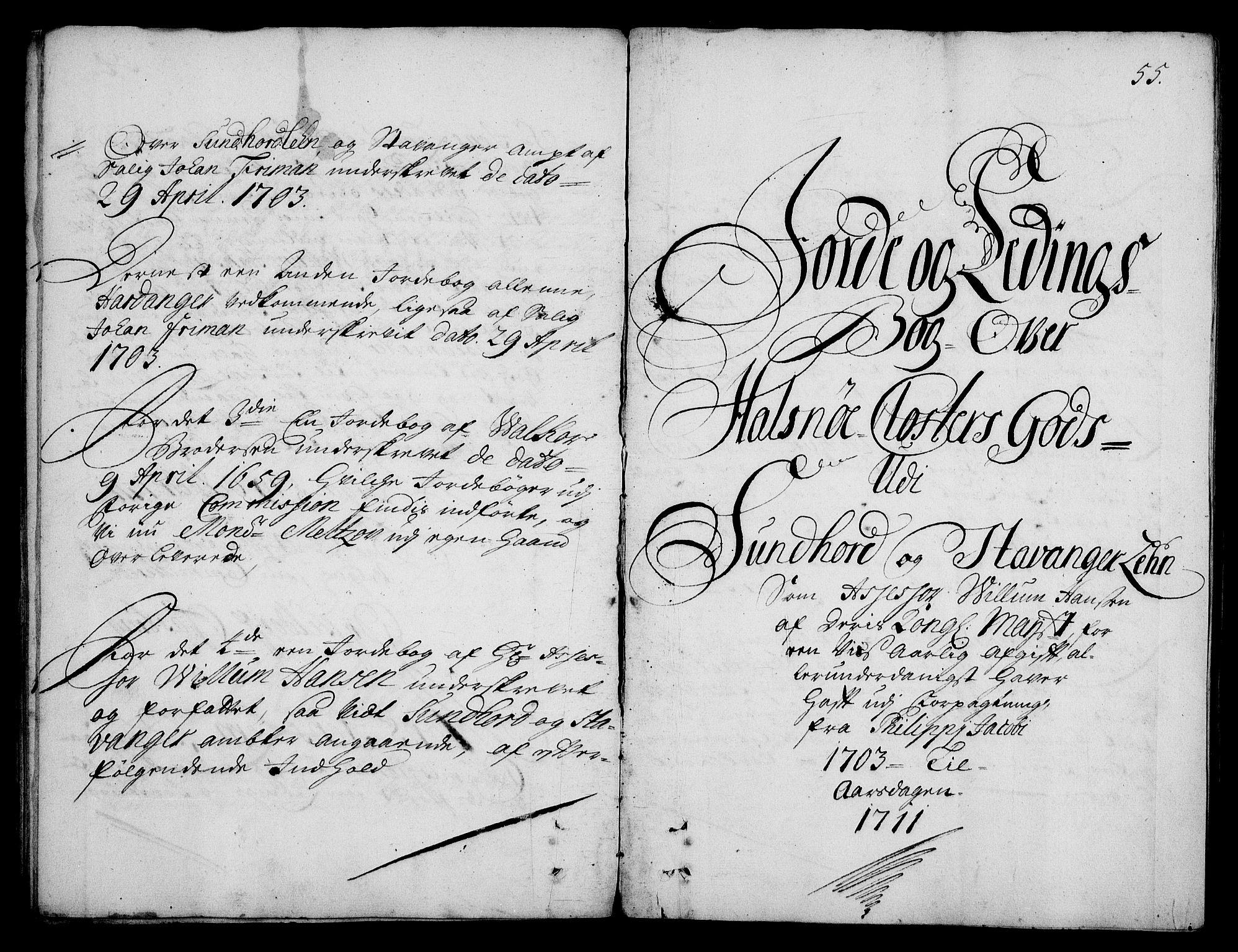 RA, Rentekammeret inntil 1814, Realistisk ordnet avdeling, On/L0003: [Jj 4]: Kommisjonsforretning over Vilhelm Hanssøns forpaktning av Halsnøy klosters gods, 1712-1722, s. 54b-55a