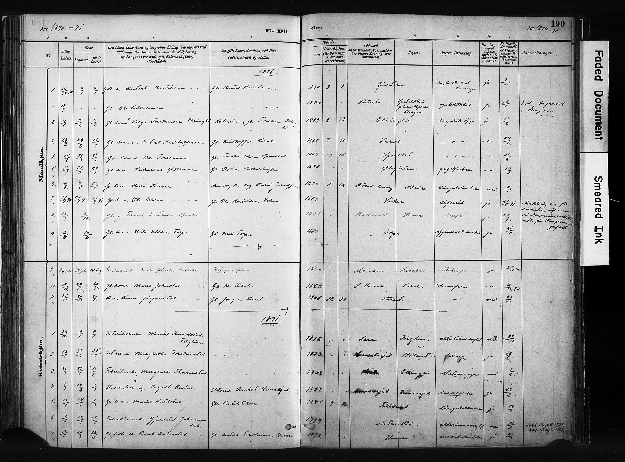 SAH, Vang prestekontor, Valdres, Ministerialbok nr. 8, 1882-1910, s. 190