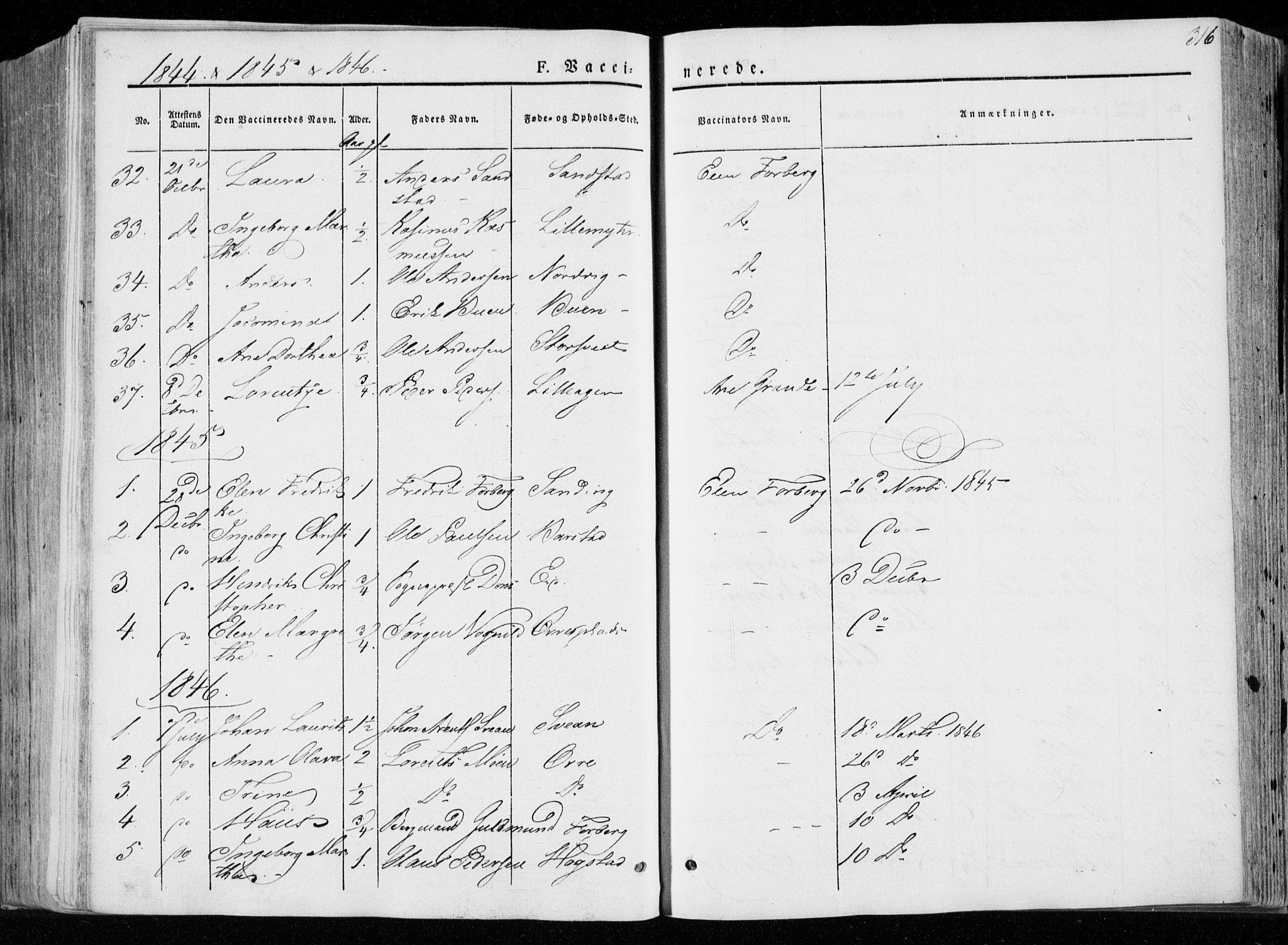 SAT, Ministerialprotokoller, klokkerbøker og fødselsregistre - Nord-Trøndelag, 722/L0218: Ministerialbok nr. 722A05, 1843-1868, s. 316