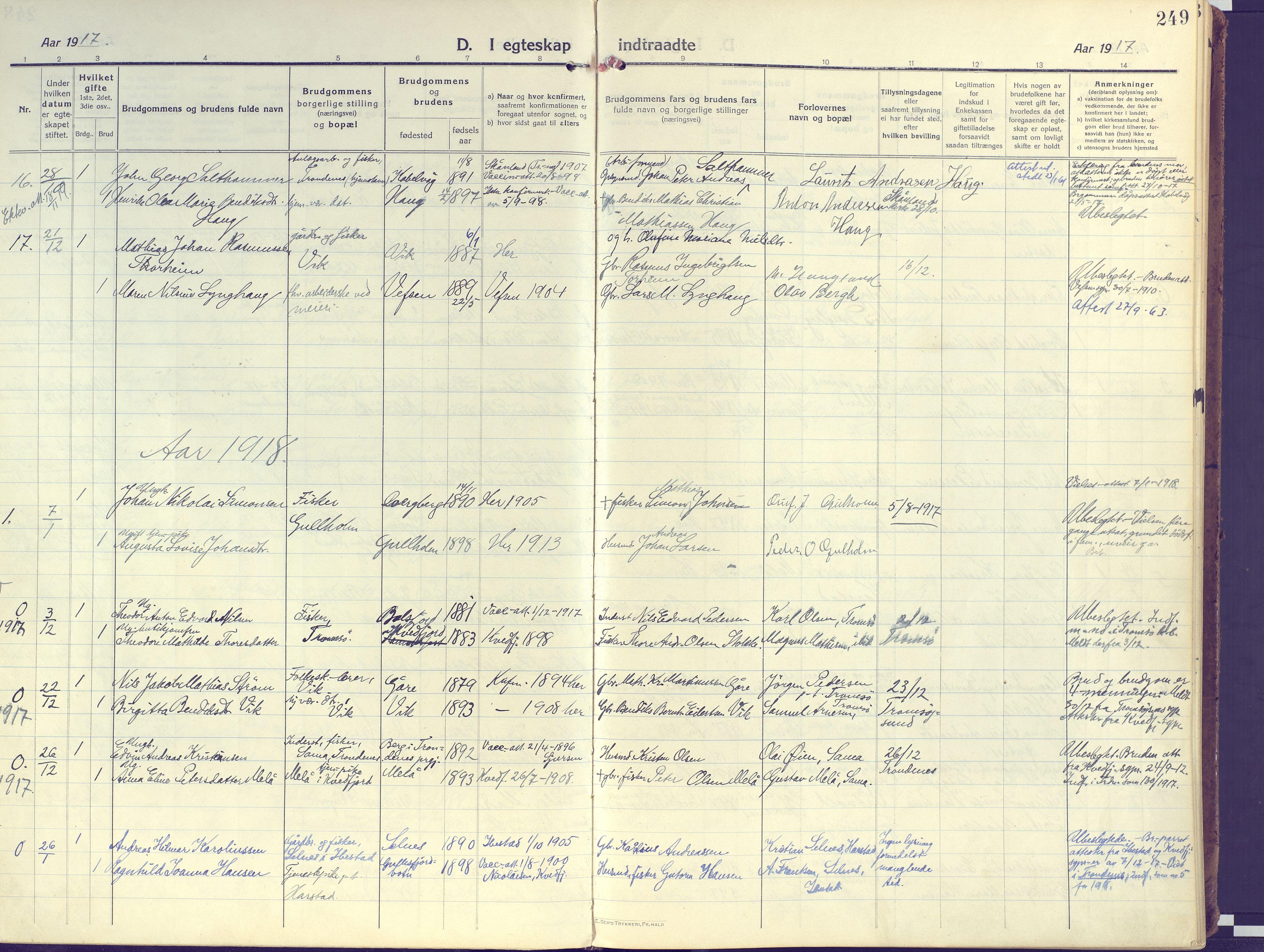 SATØ, Kvæfjord sokneprestkontor, G/Ga/Gaa/L0007kirke: Ministerialbok nr. 7, 1915-1931, s. 249