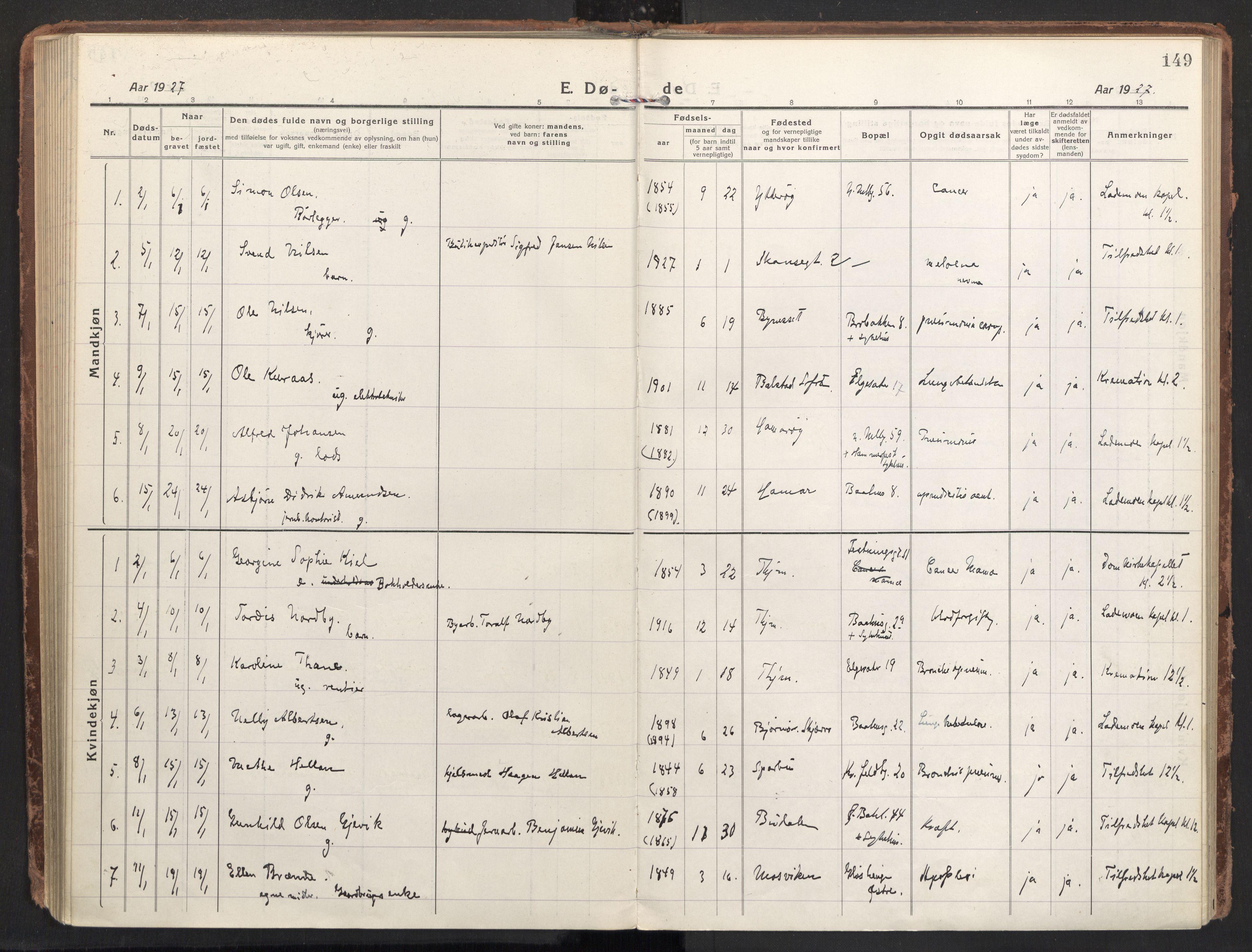 SAT, Ministerialprotokoller, klokkerbøker og fødselsregistre - Sør-Trøndelag, 604/L0207: Ministerialbok nr. 604A27, 1917-1933, s. 149