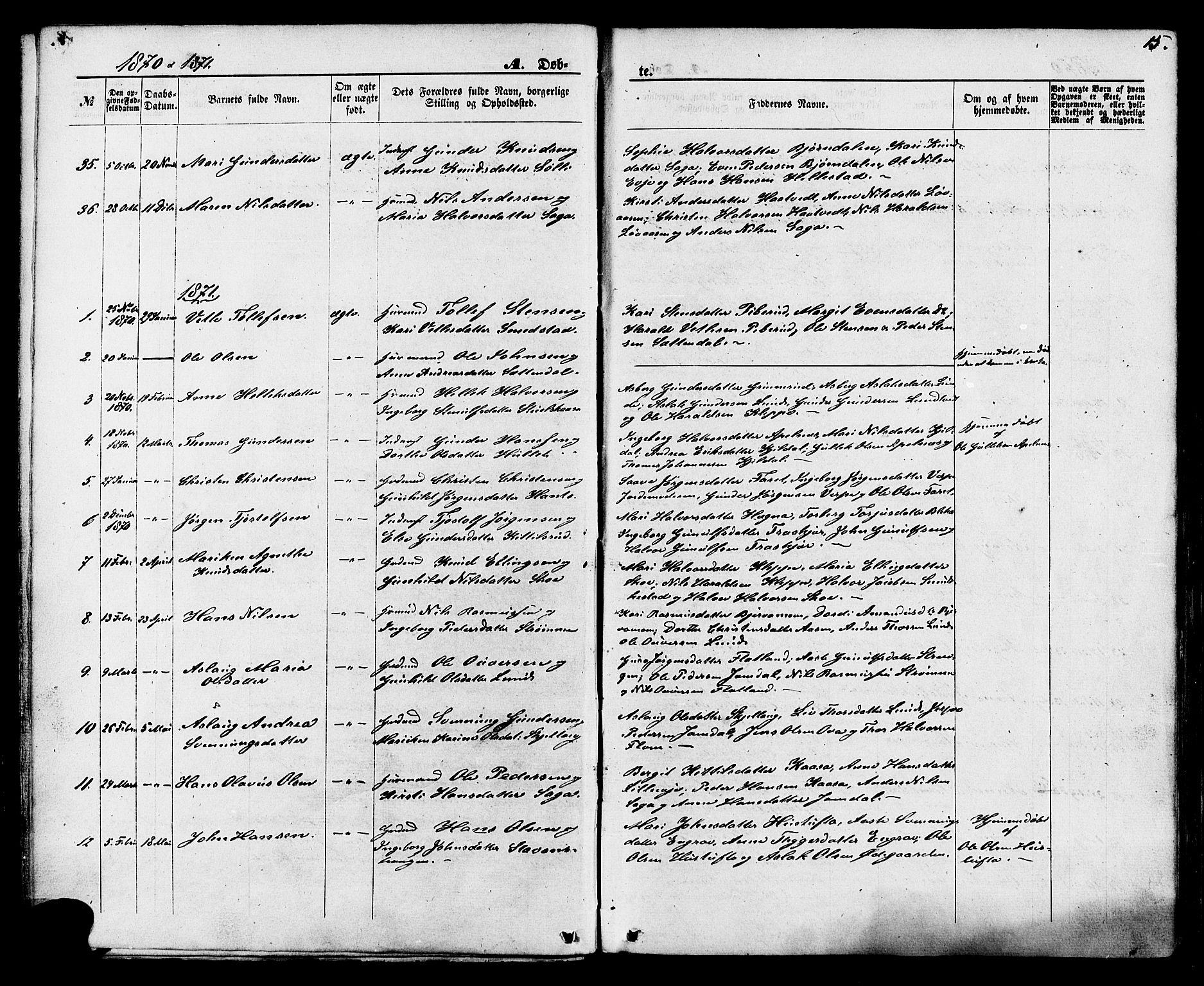 SAKO, Lunde kirkebøker, F/Fa/L0001: Ministerialbok nr. I 1, 1866-1883, s. 15