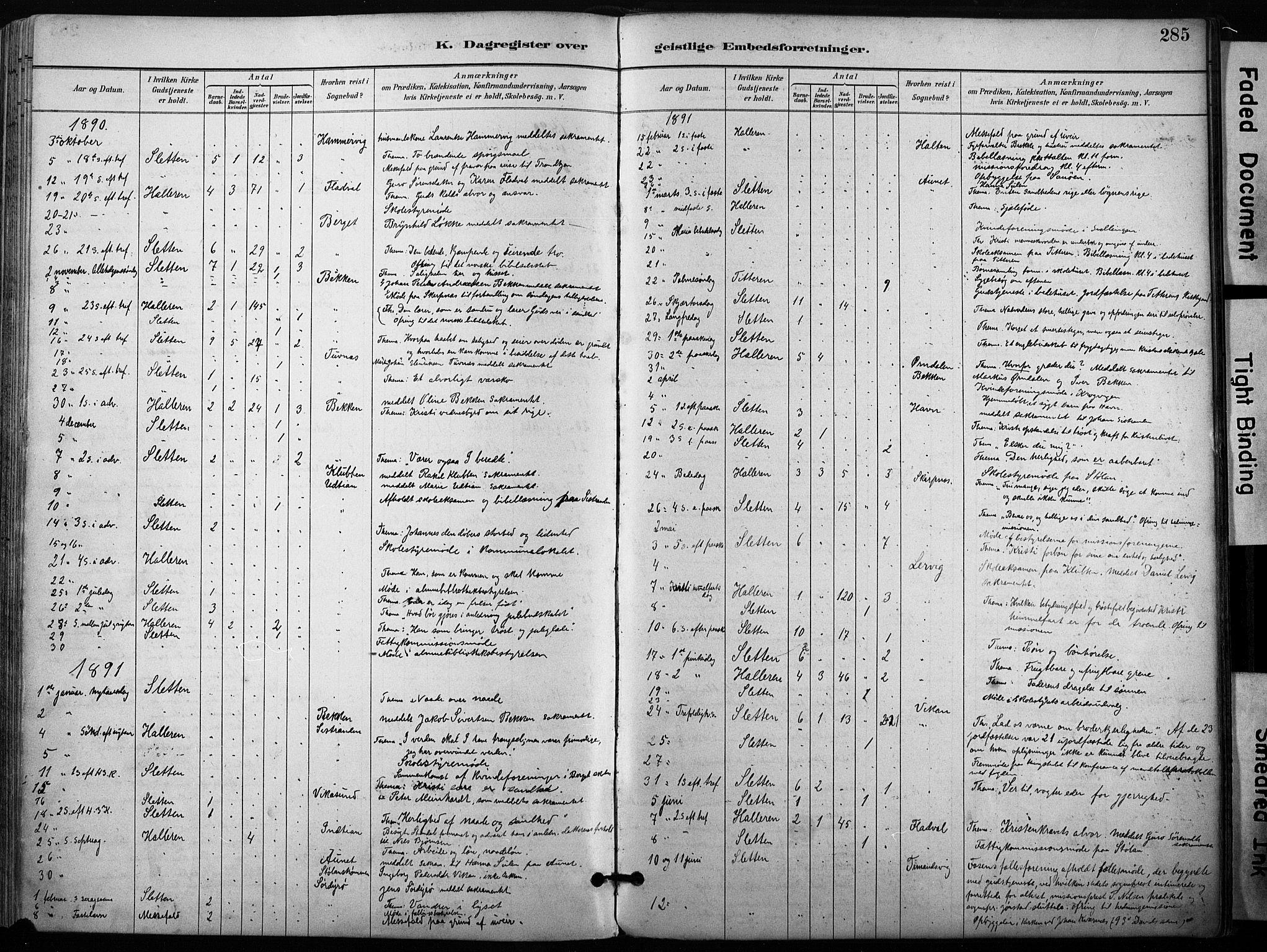 SAT, Ministerialprotokoller, klokkerbøker og fødselsregistre - Sør-Trøndelag, 640/L0579: Ministerialbok nr. 640A04, 1889-1902, s. 285