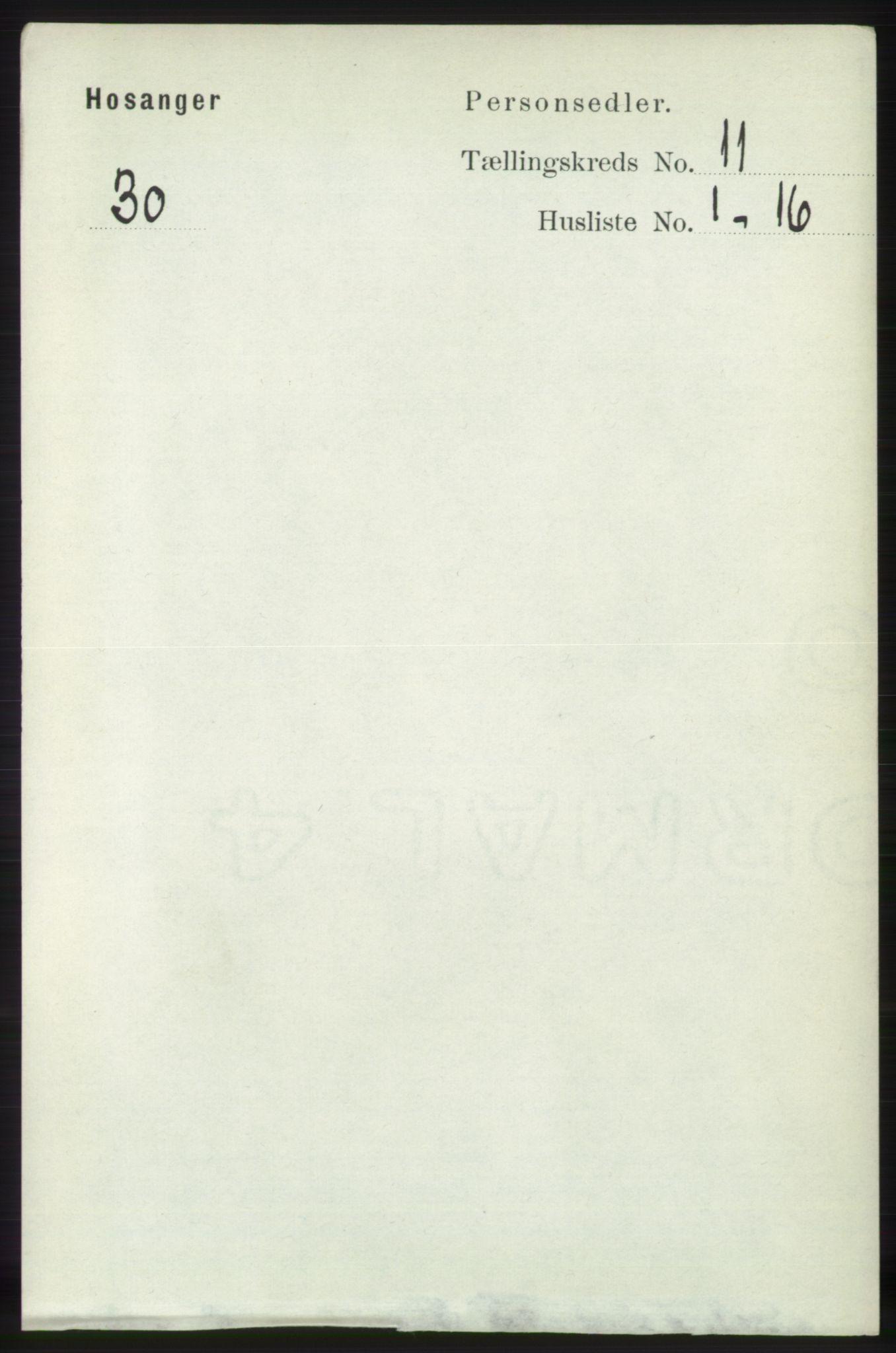 RA, Folketelling 1891 for 1253 Hosanger herred, 1891, s. 3691