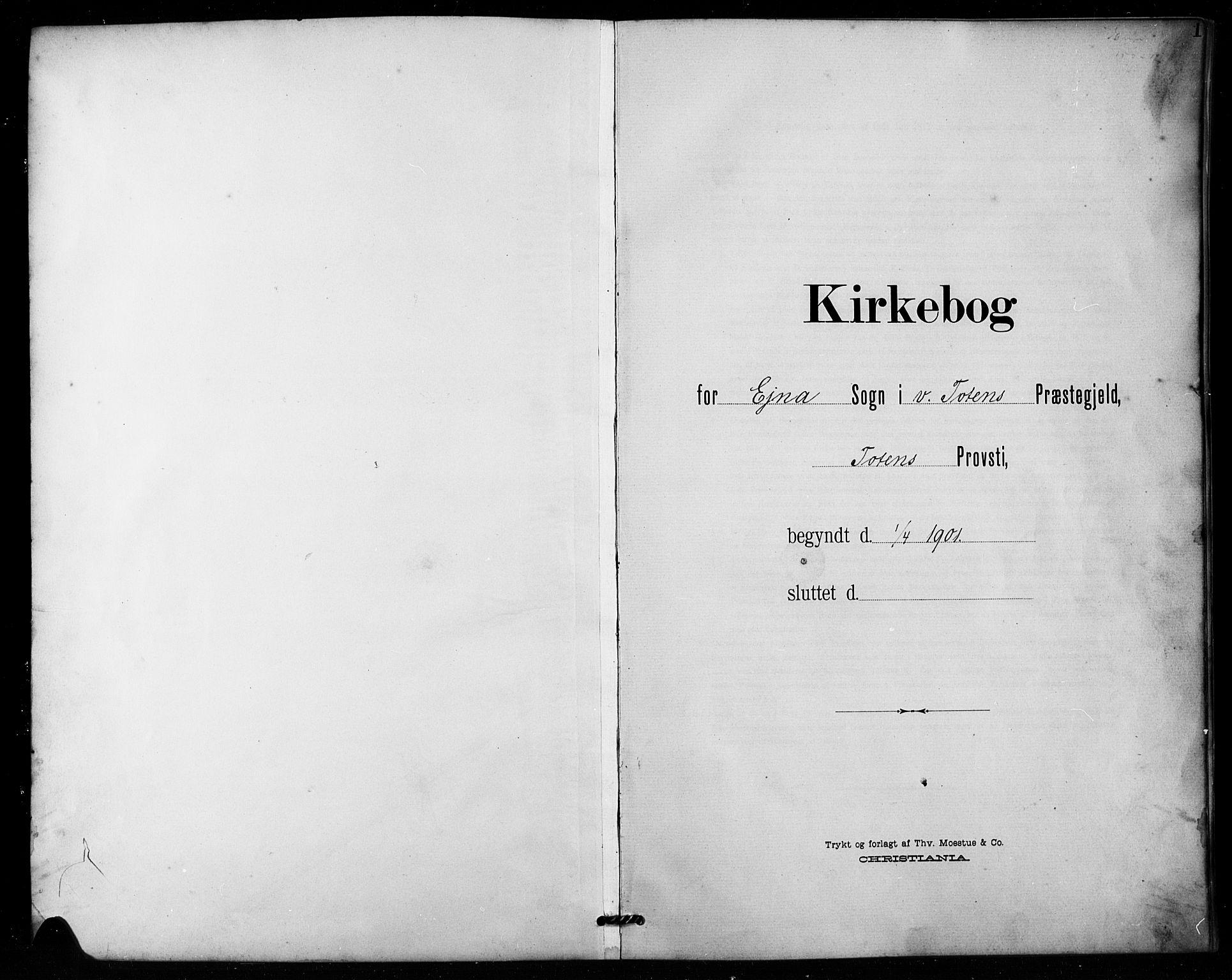 SAH, Vestre Toten prestekontor, Klokkerbok nr. 16, 1901-1915, s. 1