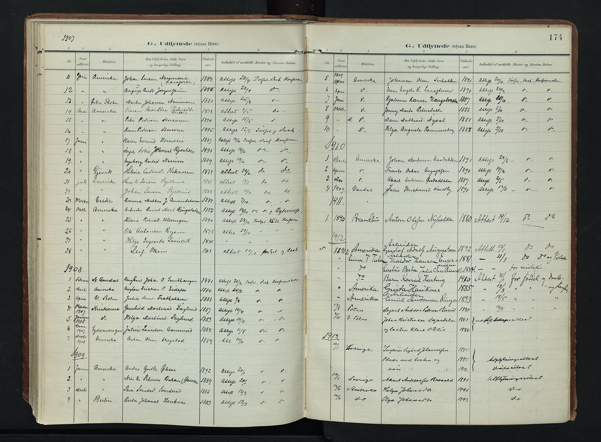 SAH, Søndre Land prestekontor, K/L0007: Ministerialbok nr. 7, 1905-1914, s. 174