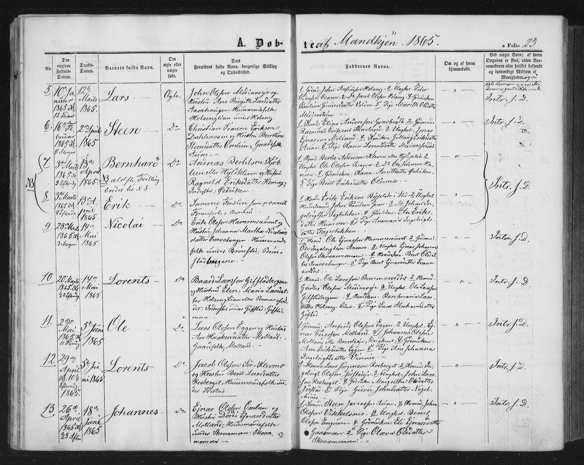 SAT, Ministerialprotokoller, klokkerbøker og fødselsregistre - Nord-Trøndelag, 749/L0472: Ministerialbok nr. 749A06, 1857-1873, s. 23