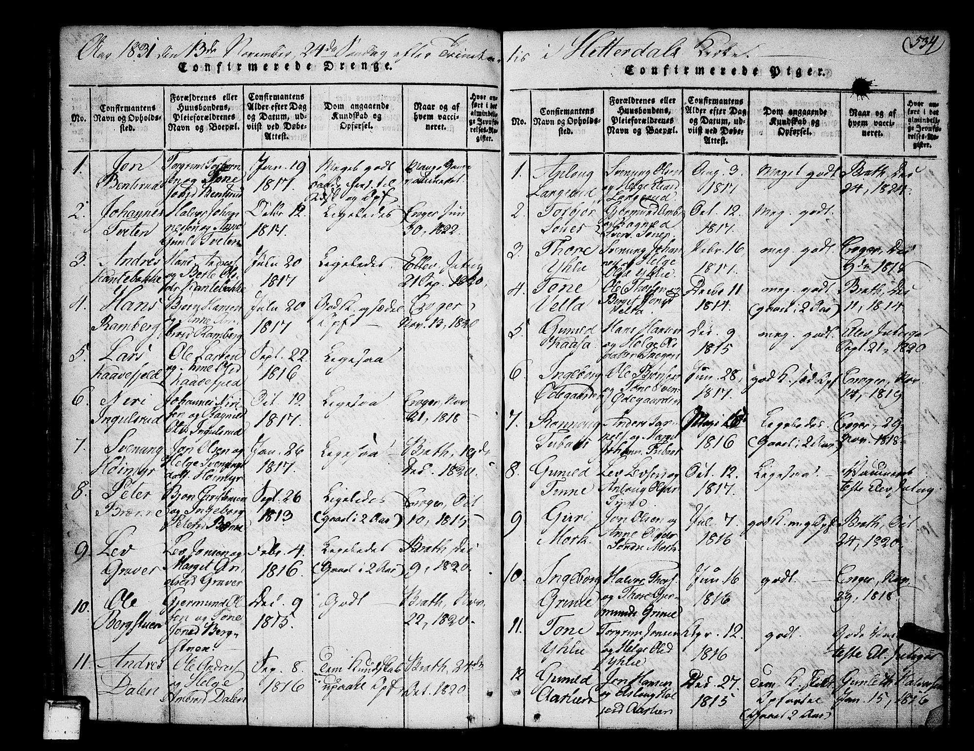 SAKO, Heddal kirkebøker, F/Fa/L0005: Ministerialbok nr. I 5, 1814-1837, s. 533-534