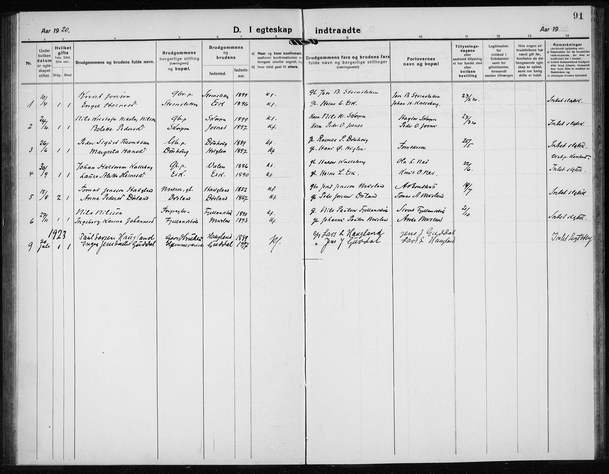 SAB, Kvinnherad Sokneprestembete, H/Haa: Ministerialbok nr. G  1, 1920-1927, s. 91