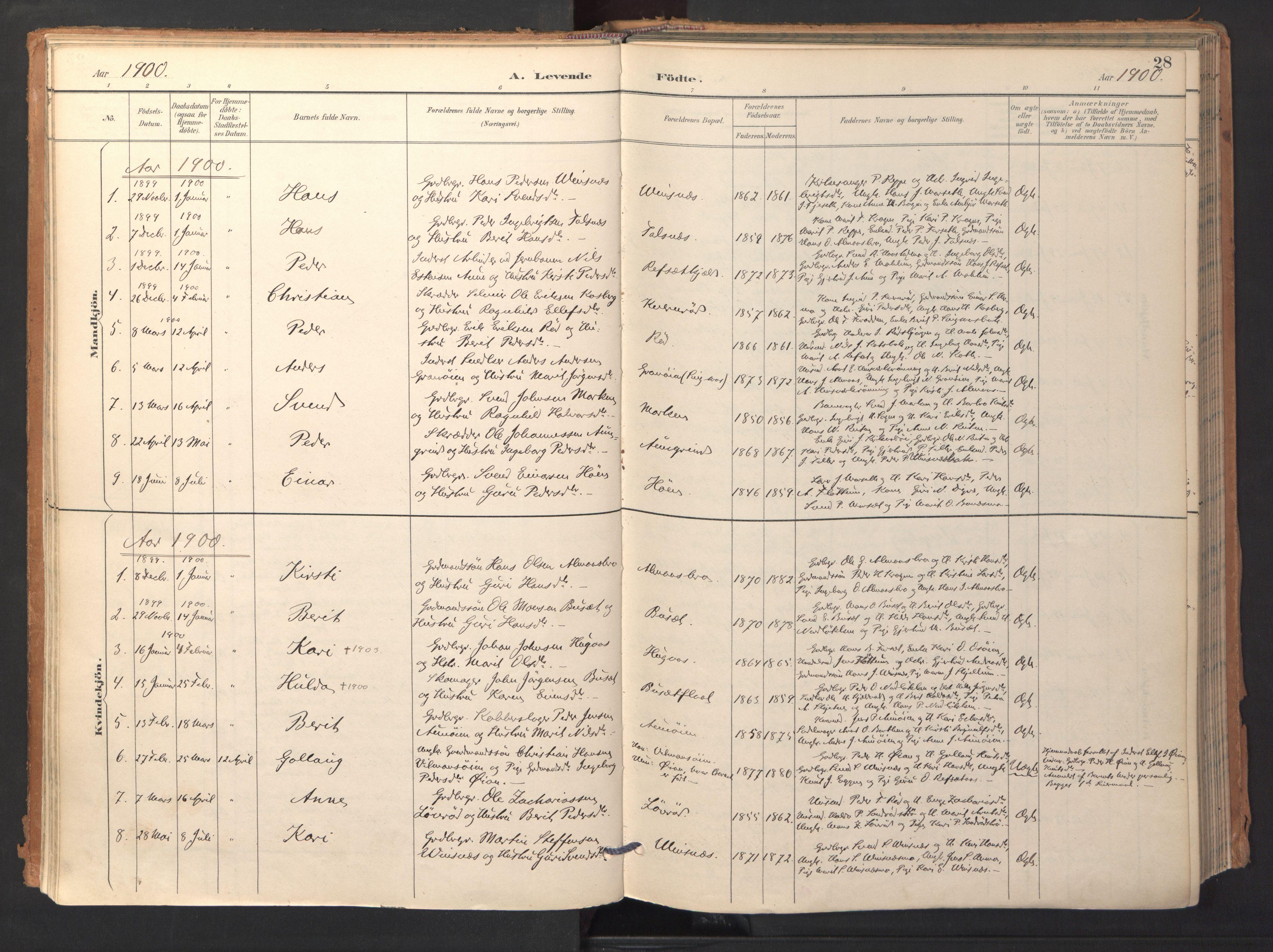 SAT, Ministerialprotokoller, klokkerbøker og fødselsregistre - Sør-Trøndelag, 688/L1025: Ministerialbok nr. 688A02, 1891-1909, s. 28
