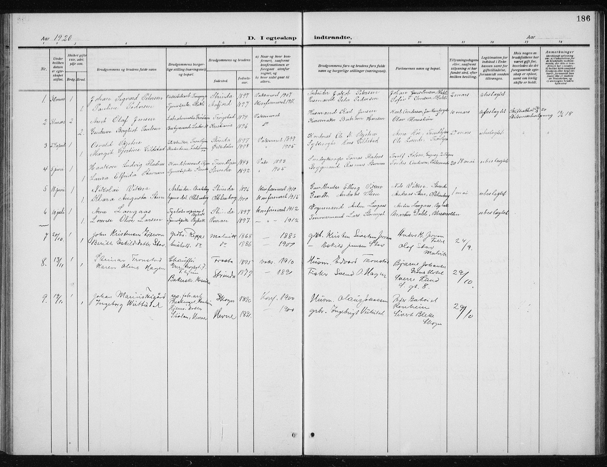 SAT, Ministerialprotokoller, klokkerbøker og fødselsregistre - Sør-Trøndelag, 606/L0314: Klokkerbok nr. 606C10, 1911-1937, s. 186
